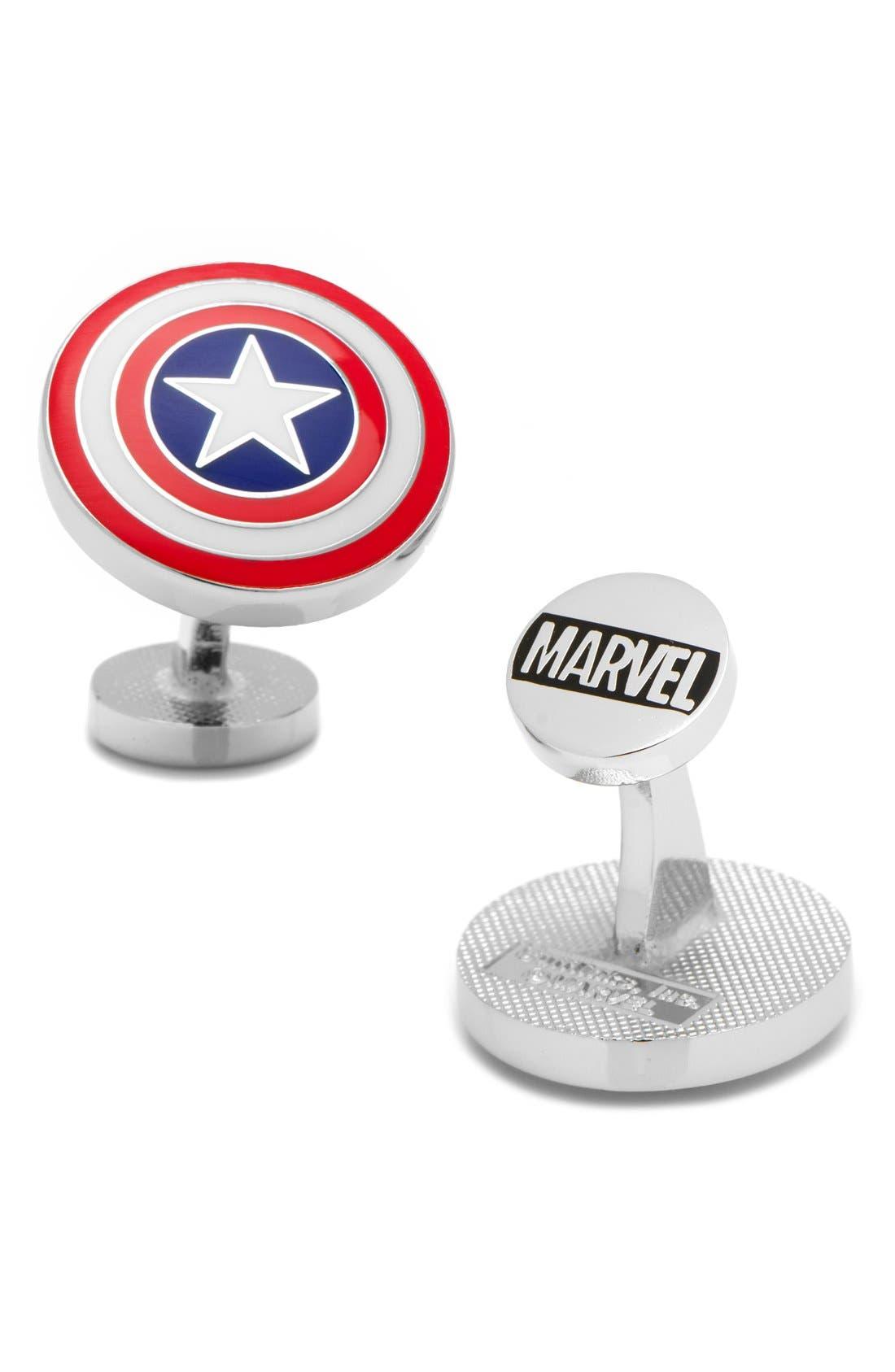 CUFFLINKS, INC., 'Captain America Shield' Cuff Links, Main thumbnail 1, color, RED MULTI