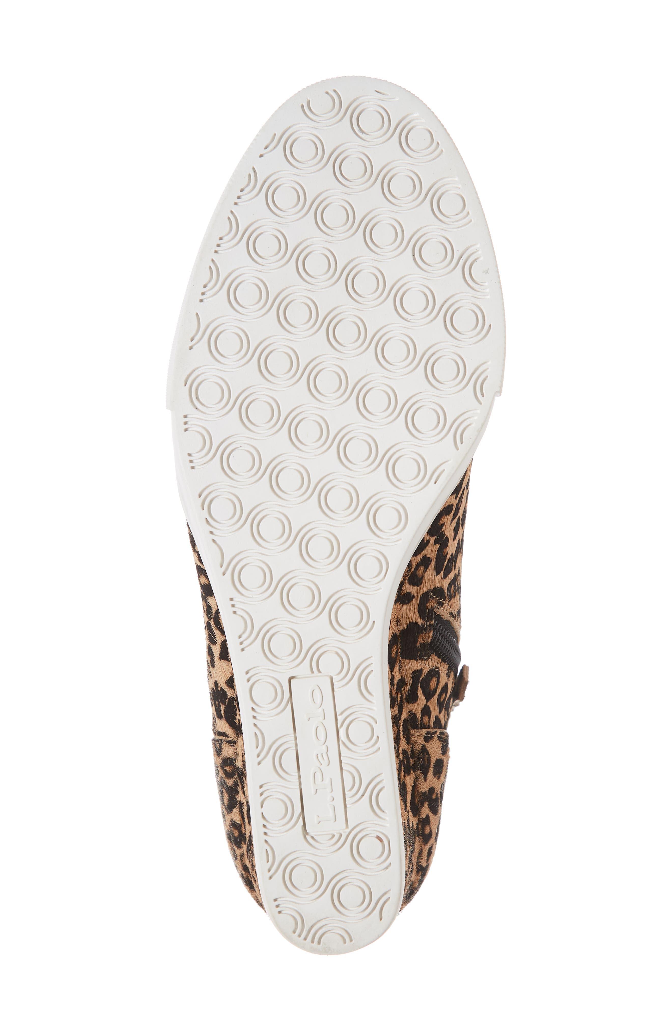 LINEA PAOLO, Felicia III Genuine Calf Hair Wedge Sneaker, Alternate thumbnail 6, color, LEOPARD PRINT HAIR CALF