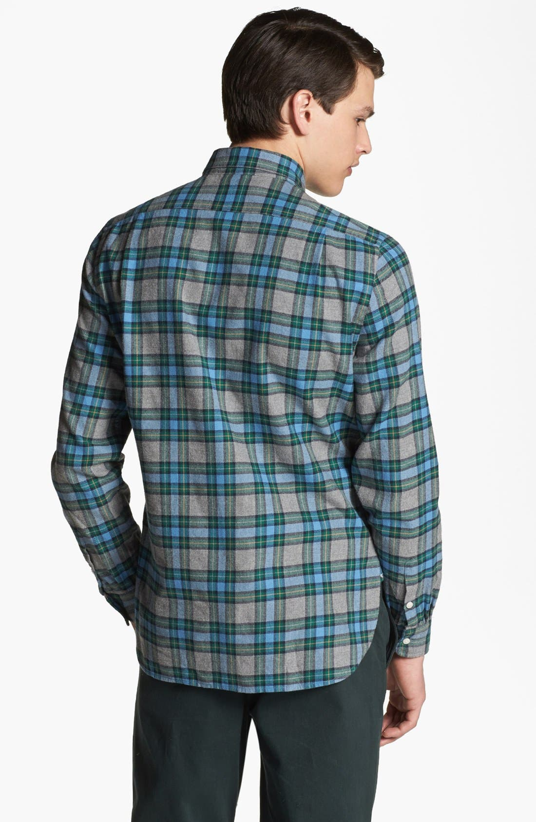 SHIPLEY & HALMOS, 'Marine' Plaid Woven Shirt, Alternate thumbnail 2, color, 020