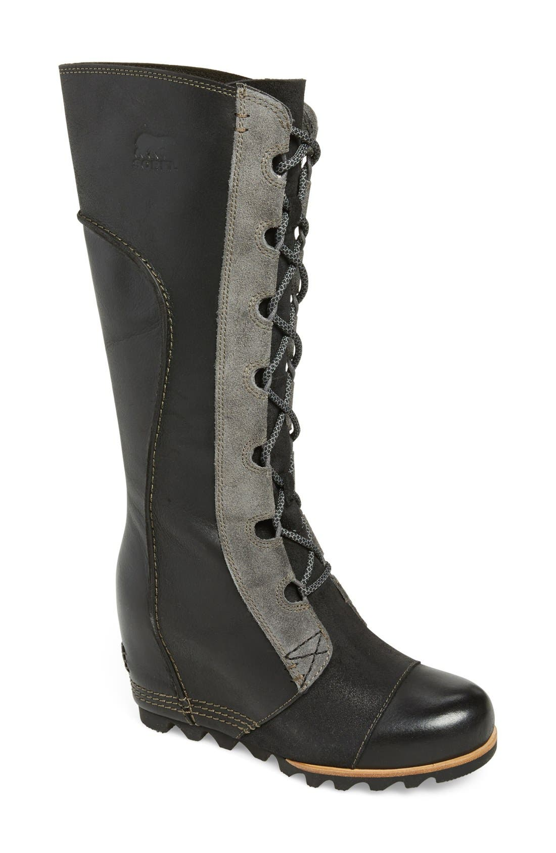 SOREL 'Cate the Great' Waterproof Wedge Boot, Main, color, 010