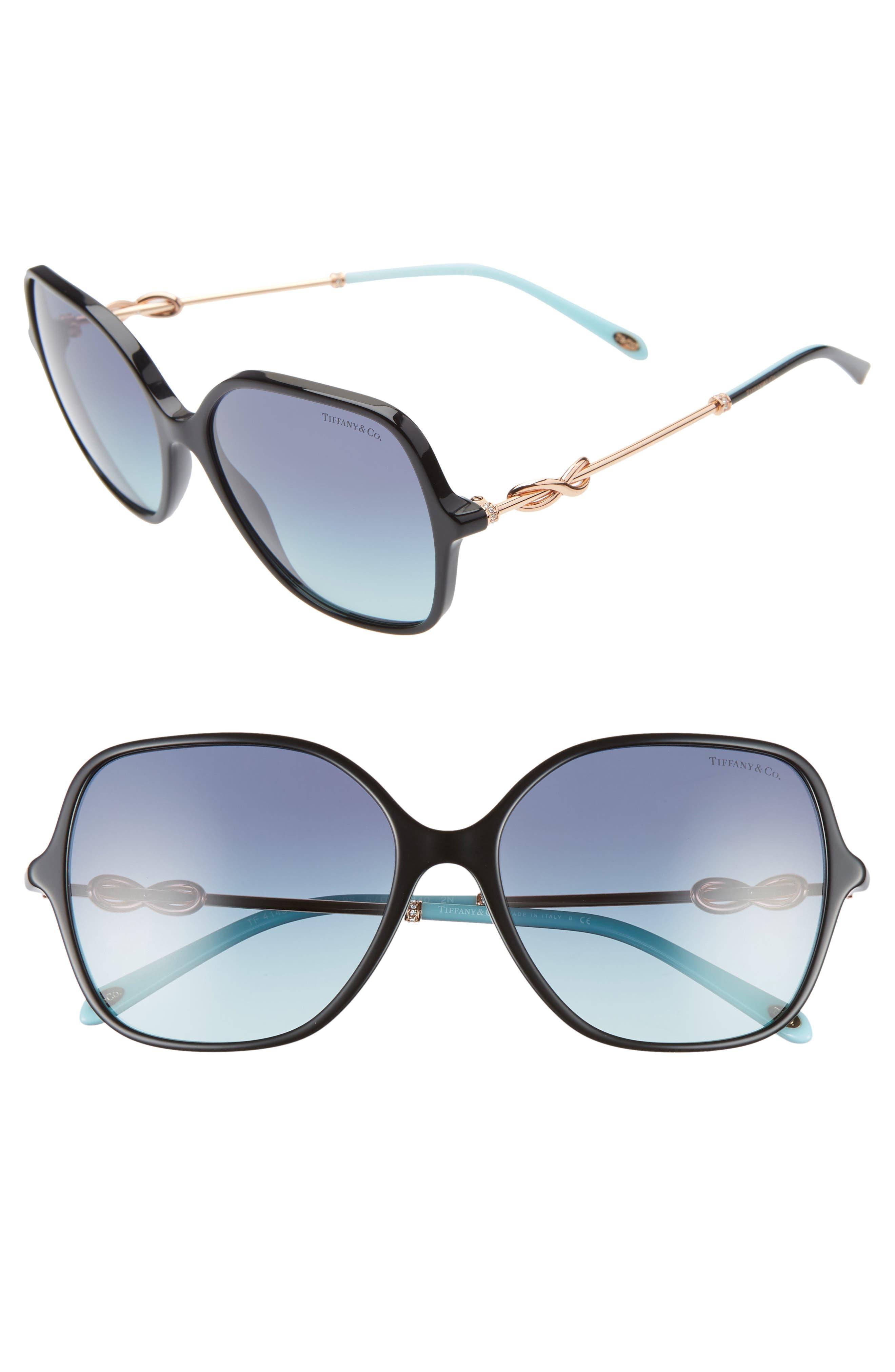 TIFFANY & CO., Tiffany 57mm Sunglasses, Main thumbnail 1, color, BLACK/ AZURE GRADIENT