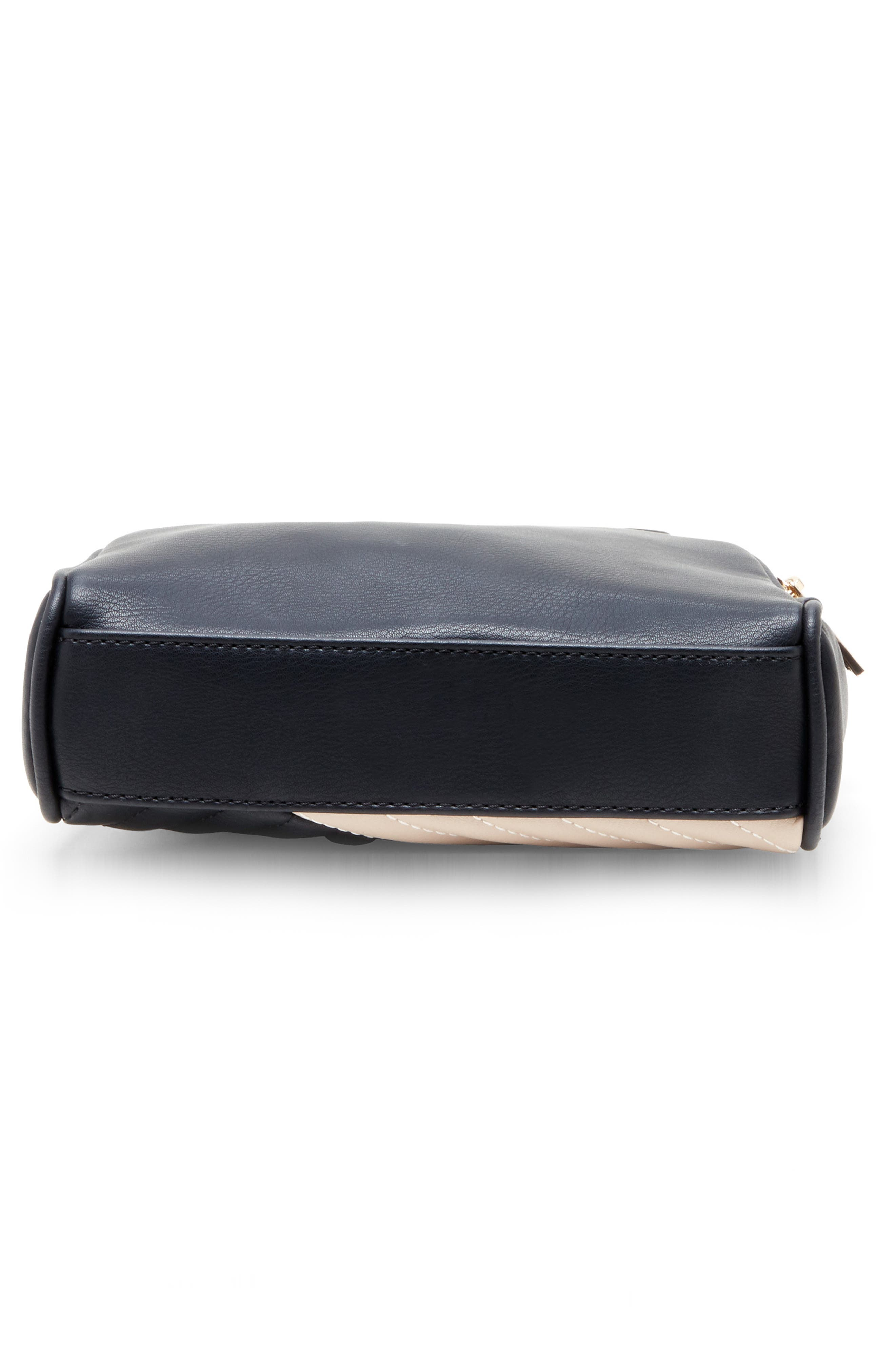 SOLE SOCIETY, Linza Faux Leather Crossbody Bag, Alternate thumbnail 5, color, BLACK/ CREAM