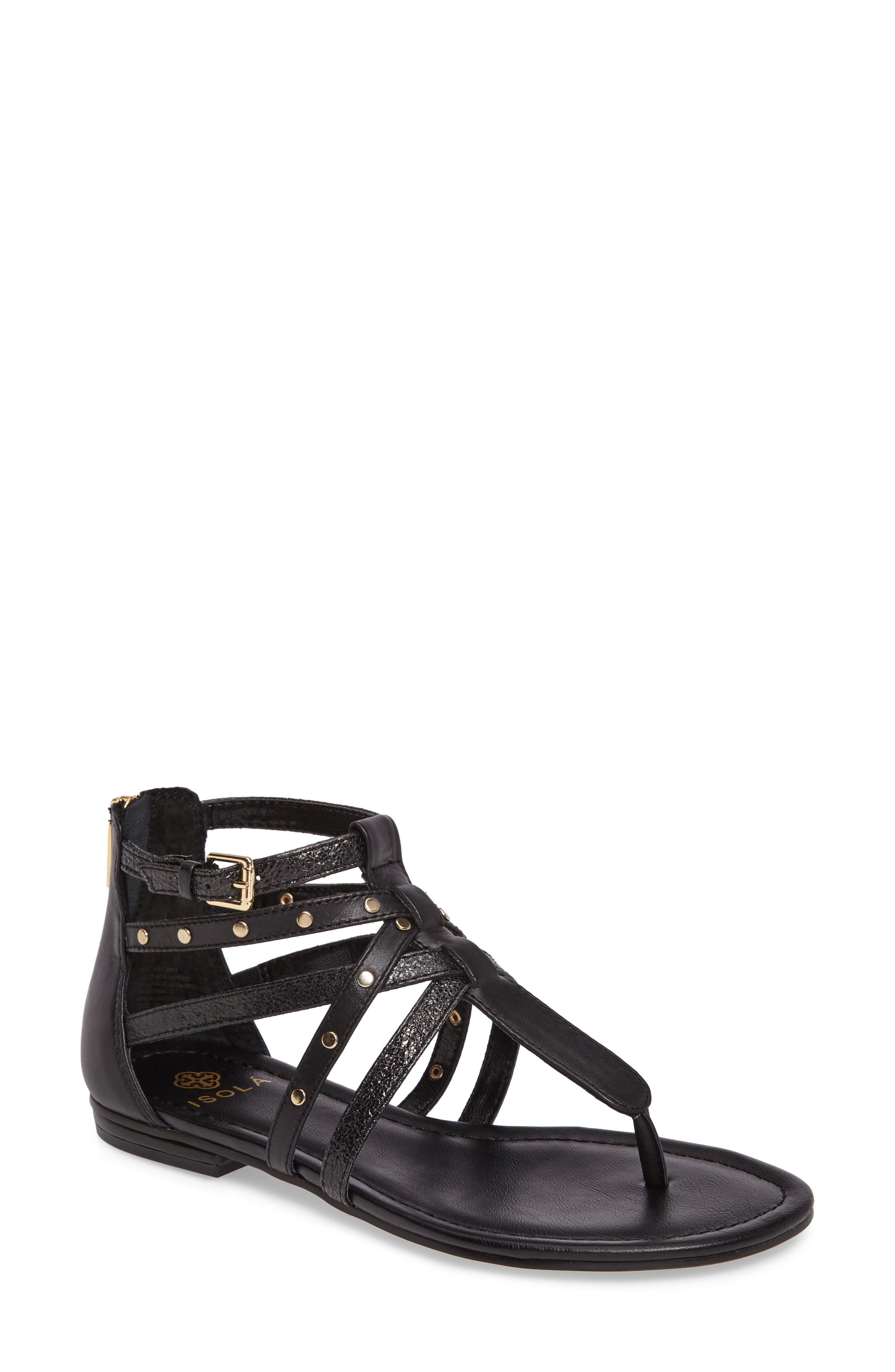 ISOLÁ Melara T-Strap Gladiator Sandal, Main, color, BLACK LEATHER