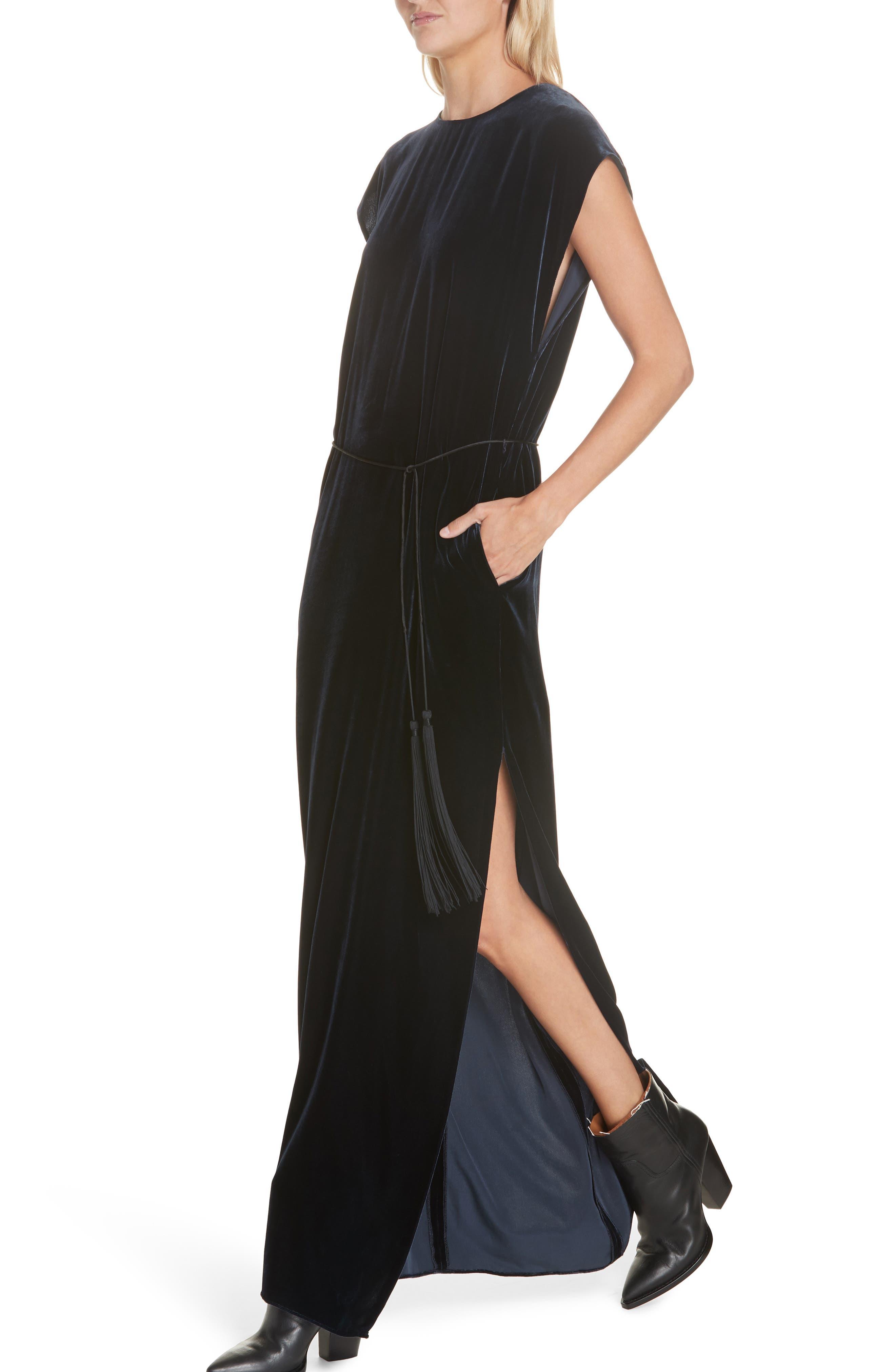 NILI LOTAN, Lillian Velvet Dress, Alternate thumbnail 4, color, DARK NAVY