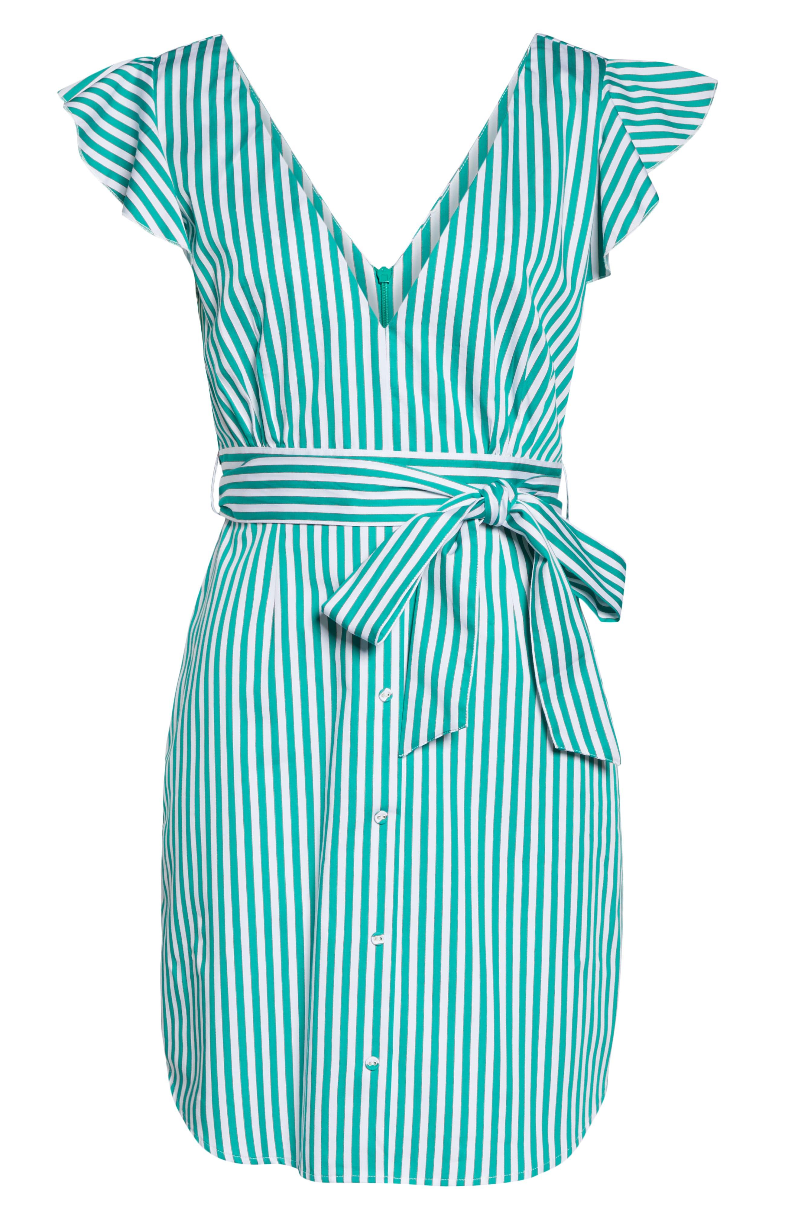 BB DAKOTA, Peppermint Stripe Dress, Alternate thumbnail 7, color, MISTY JADE