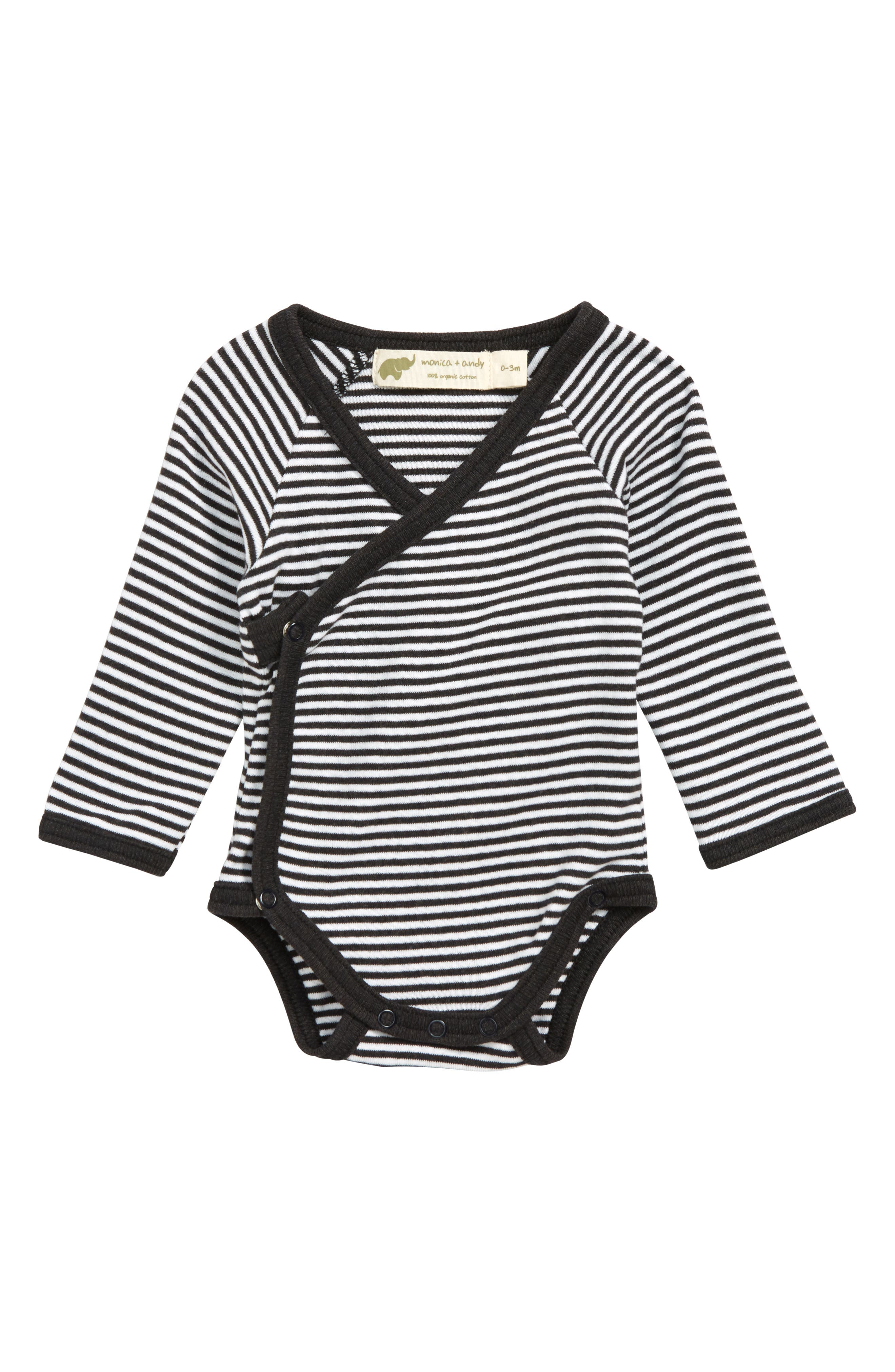 MONICA + ANDY, Lucky Organic Cotton Wrap Bodysuit, Main thumbnail 1, color, 100