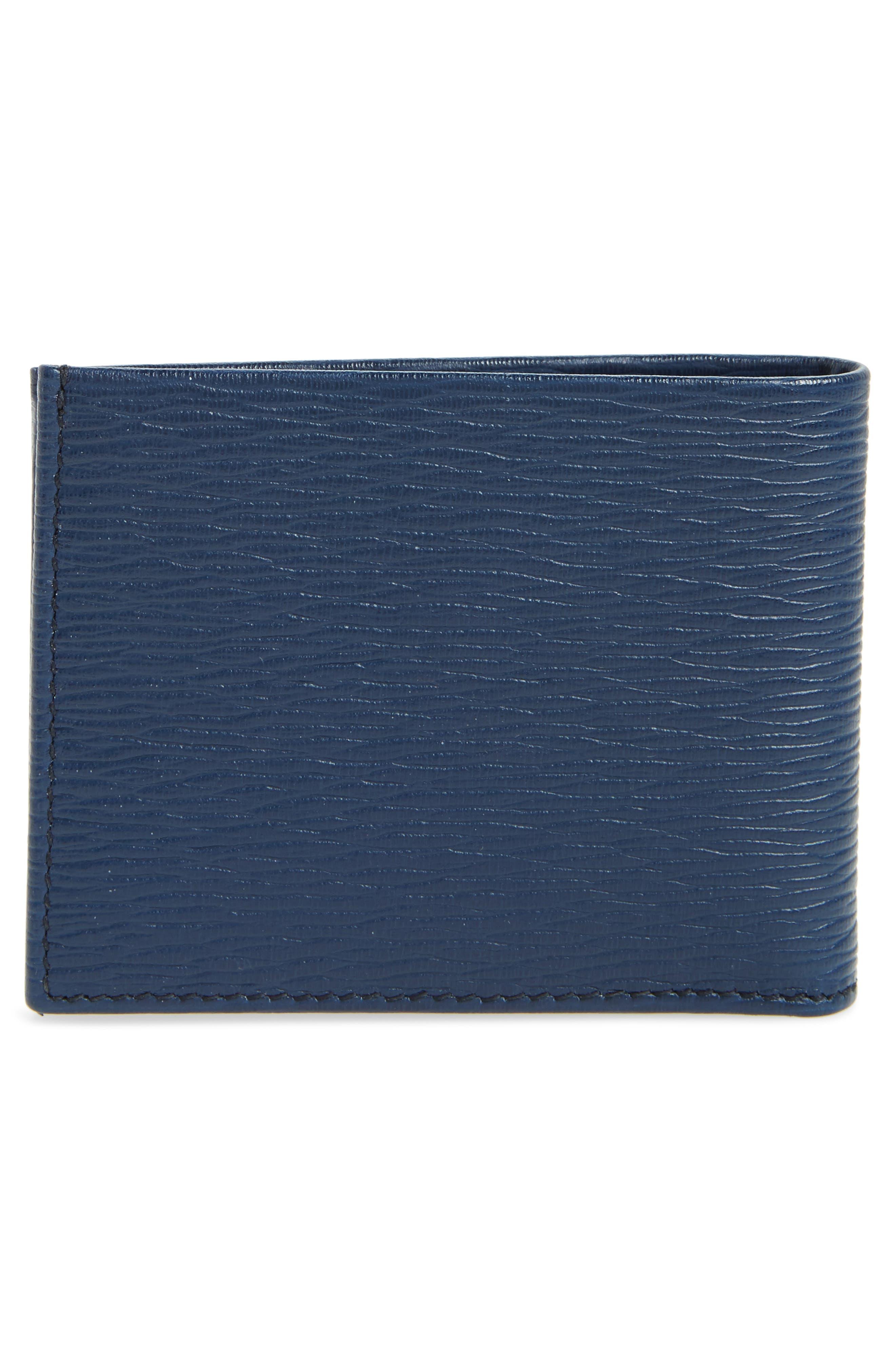 SALVATORE FERRAGAMO, Revival Bifold Leather Wallet, Alternate thumbnail 3, color, BLUE