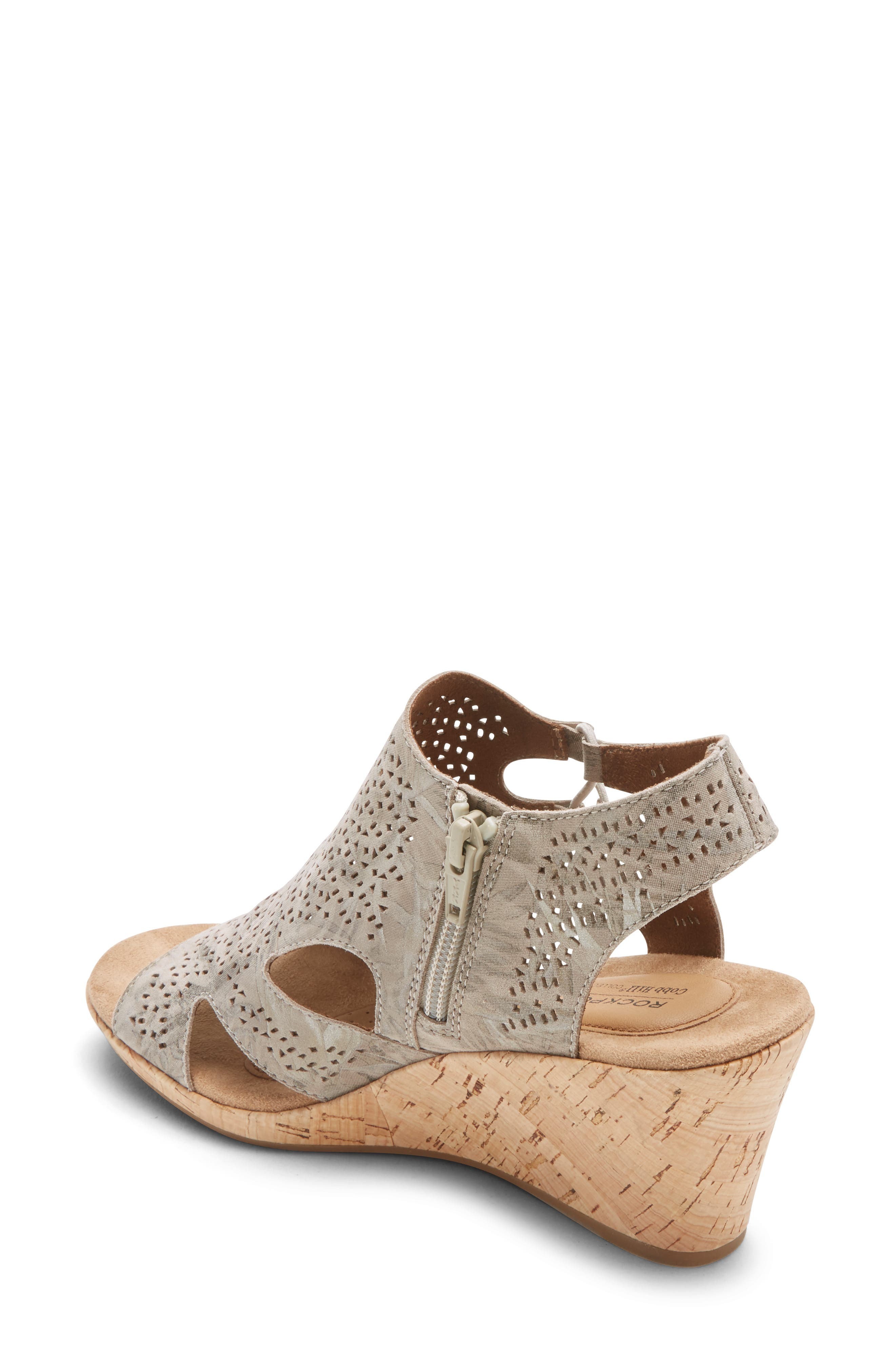 ROCKPORT COBB HILL, Janna Perforated Wedge Sandal, Alternate thumbnail 2, color, FLORAL METALLIC LEATHER