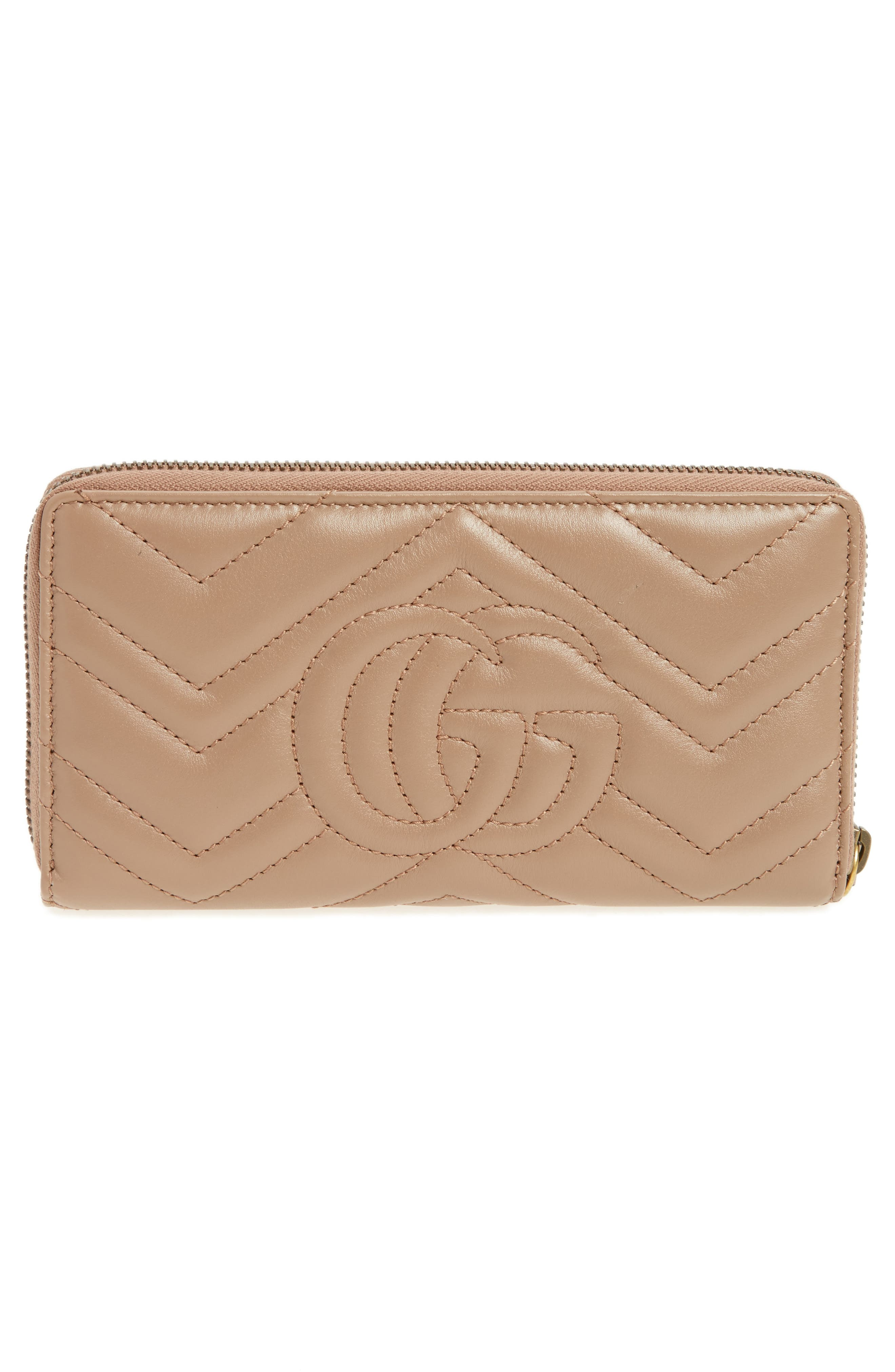 GUCCI, GG Marmont Matelassé Leather Zip-Around Wallet, Alternate thumbnail 5, color, PORCELAIN ROSE