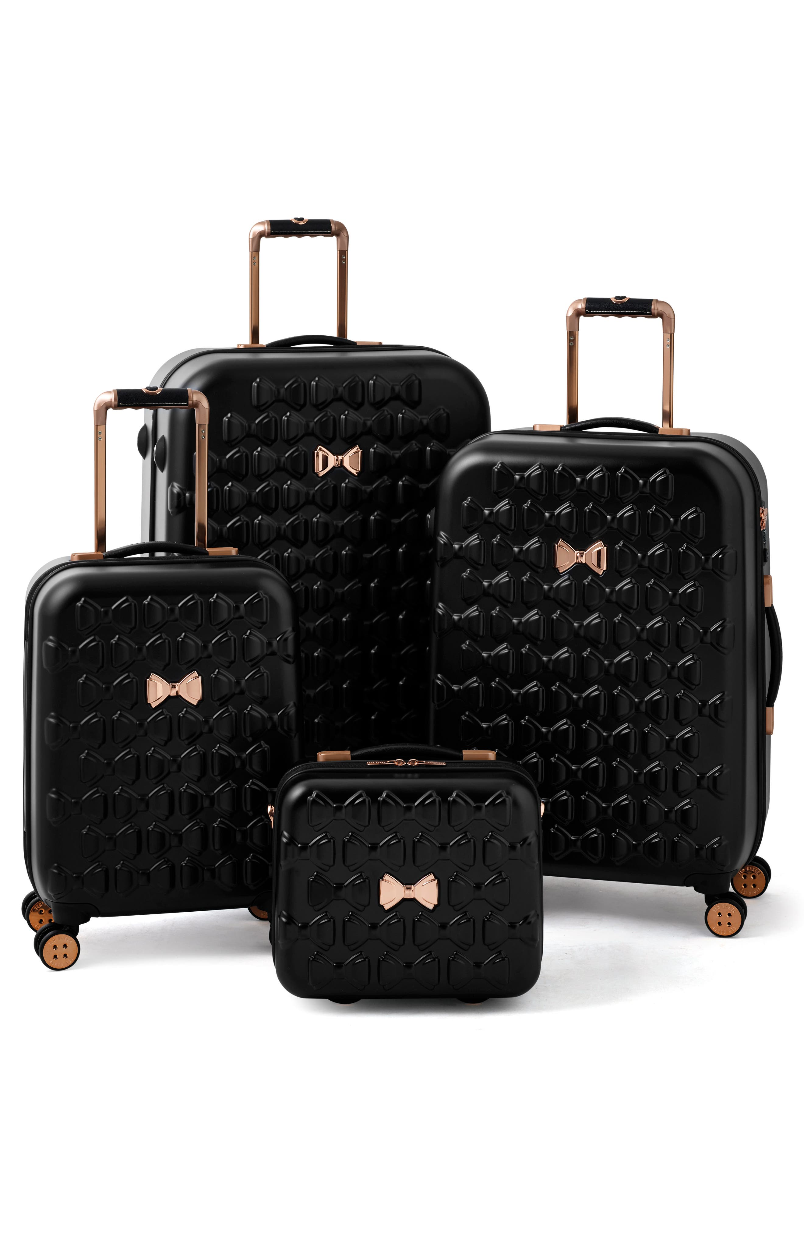 TED BAKER LONDON, Small Beau 22-Inch Bow Embossed Four-Wheel Trolley Suitcase, Alternate thumbnail 11, color, BLACK