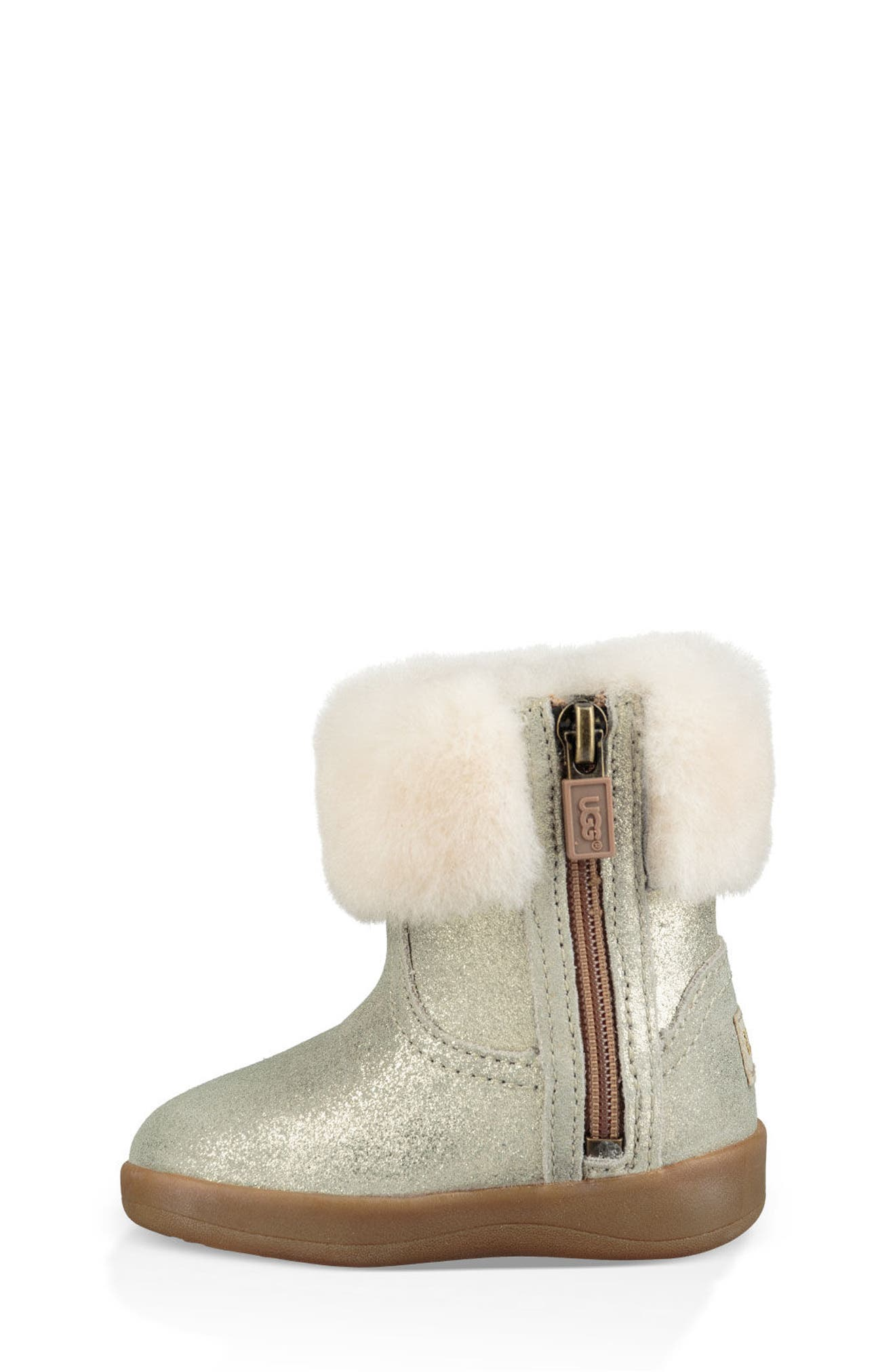 UGG<SUP>®</SUP>, Jorie II Metallic Genuine Shearling Boot, Alternate thumbnail 6, color, GOLD