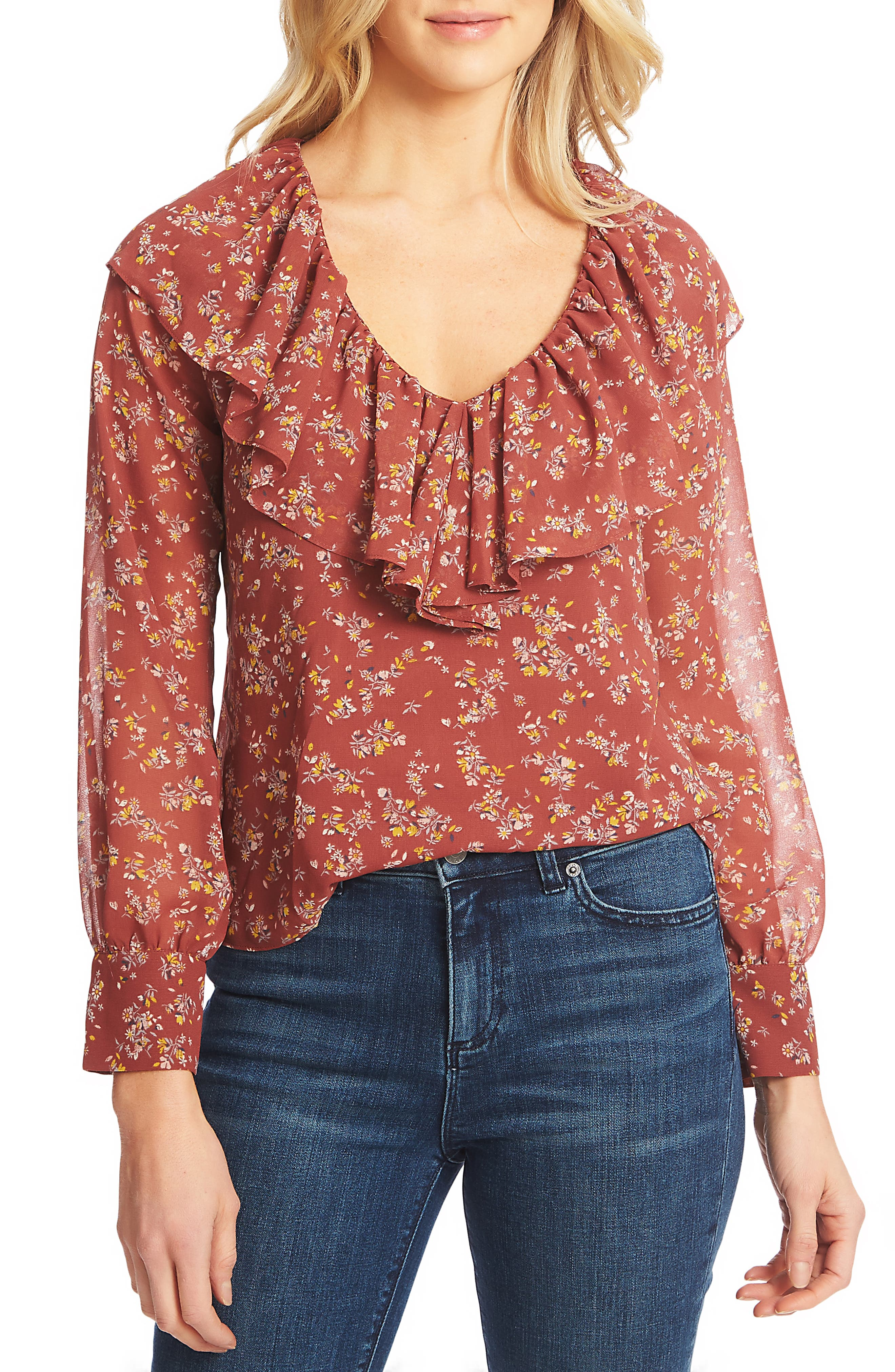 1.STATE, Heritage Bouquet Blouse, Main thumbnail 1, color, TERRA EARTH