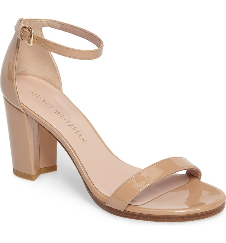 Stuart Weitzman Nearlynude Patent Leather Ankle Strap Sandals In Adobe Aniline
