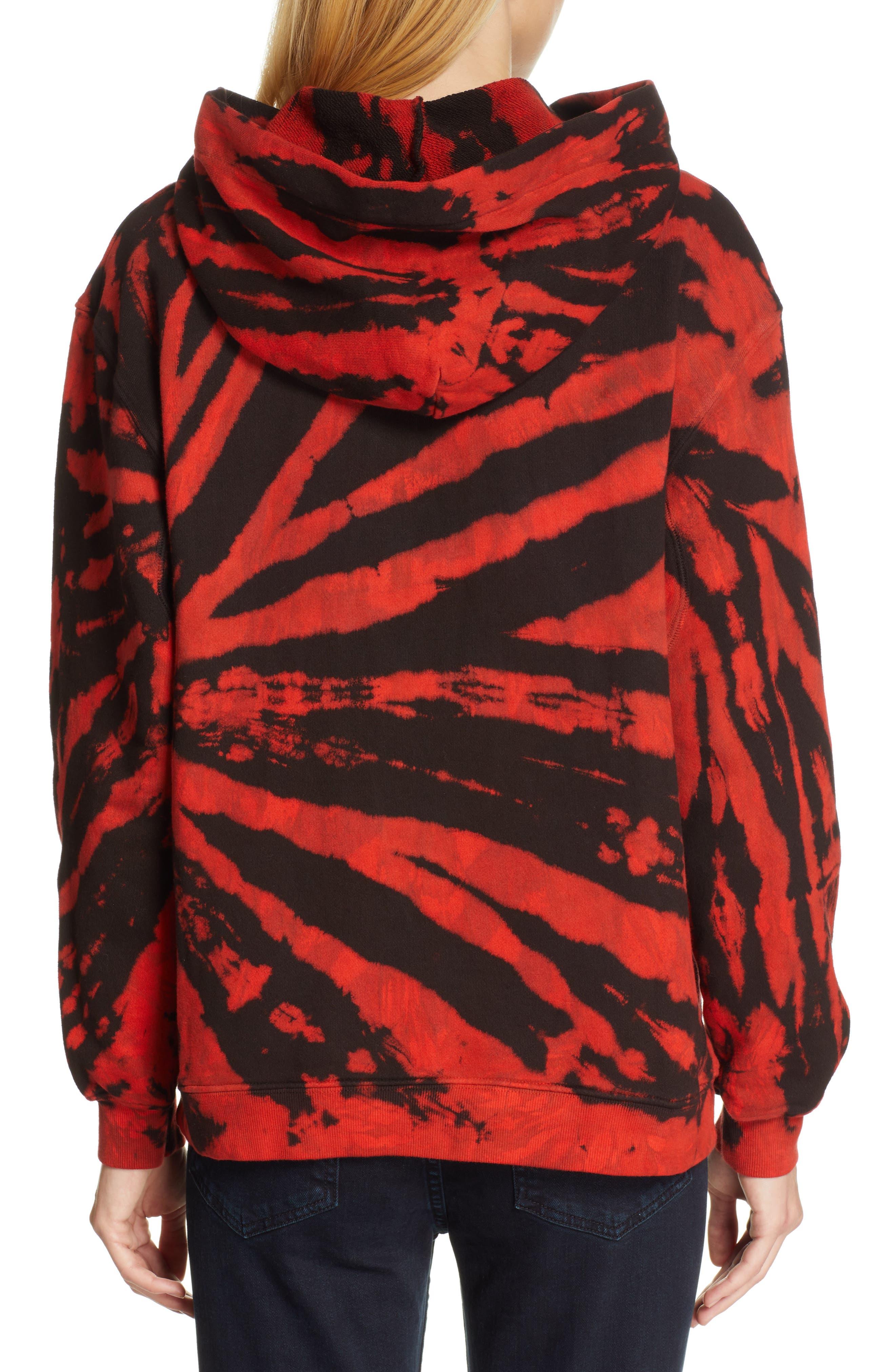 PROENZA SCHOULER, PSWL Tie Dye Hoodie, Alternate thumbnail 2, color, RED/ BLACK