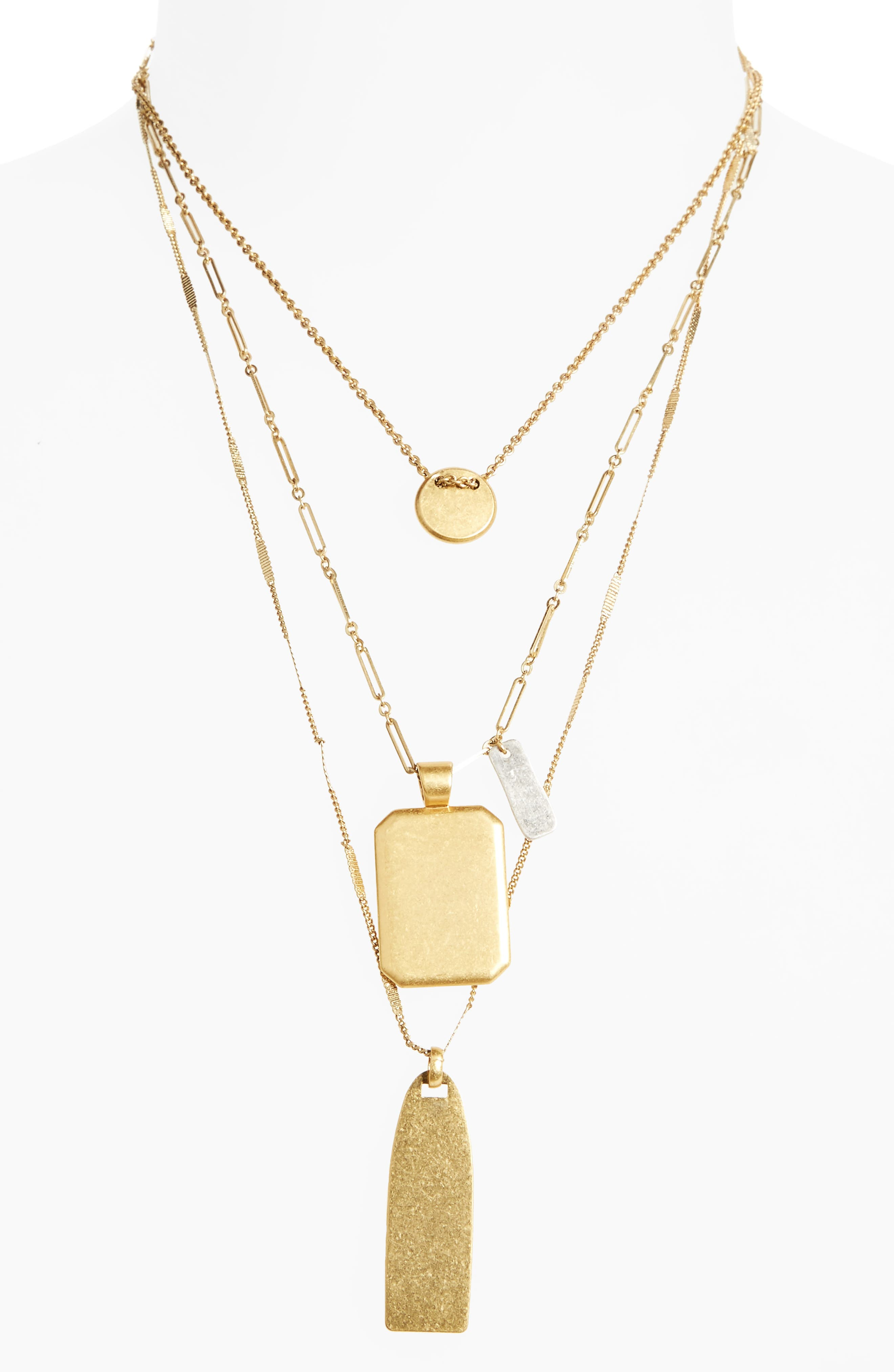 MADEWELL Treasure Pendant Necklace Set, Main, color, MIXED METAL
