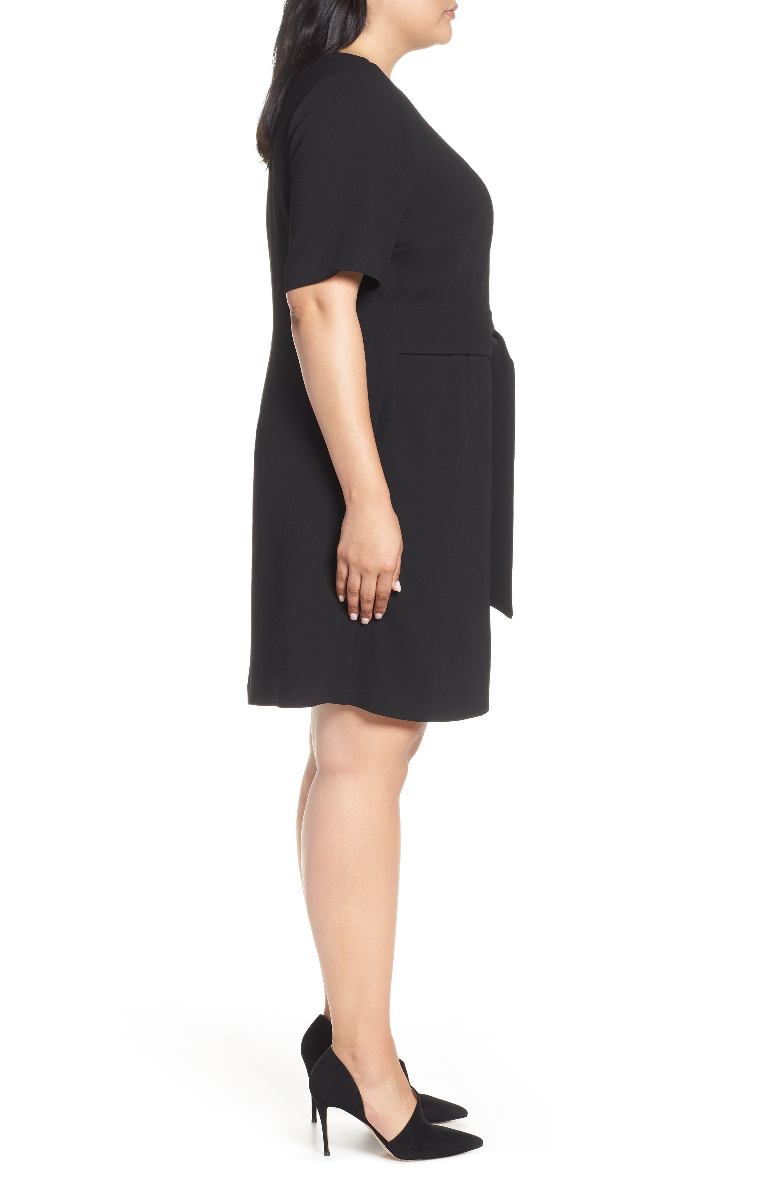VINCE CAMUTO, Belt Parisian Crepe Dress, Alternate thumbnail 4, color, RICH BLACK