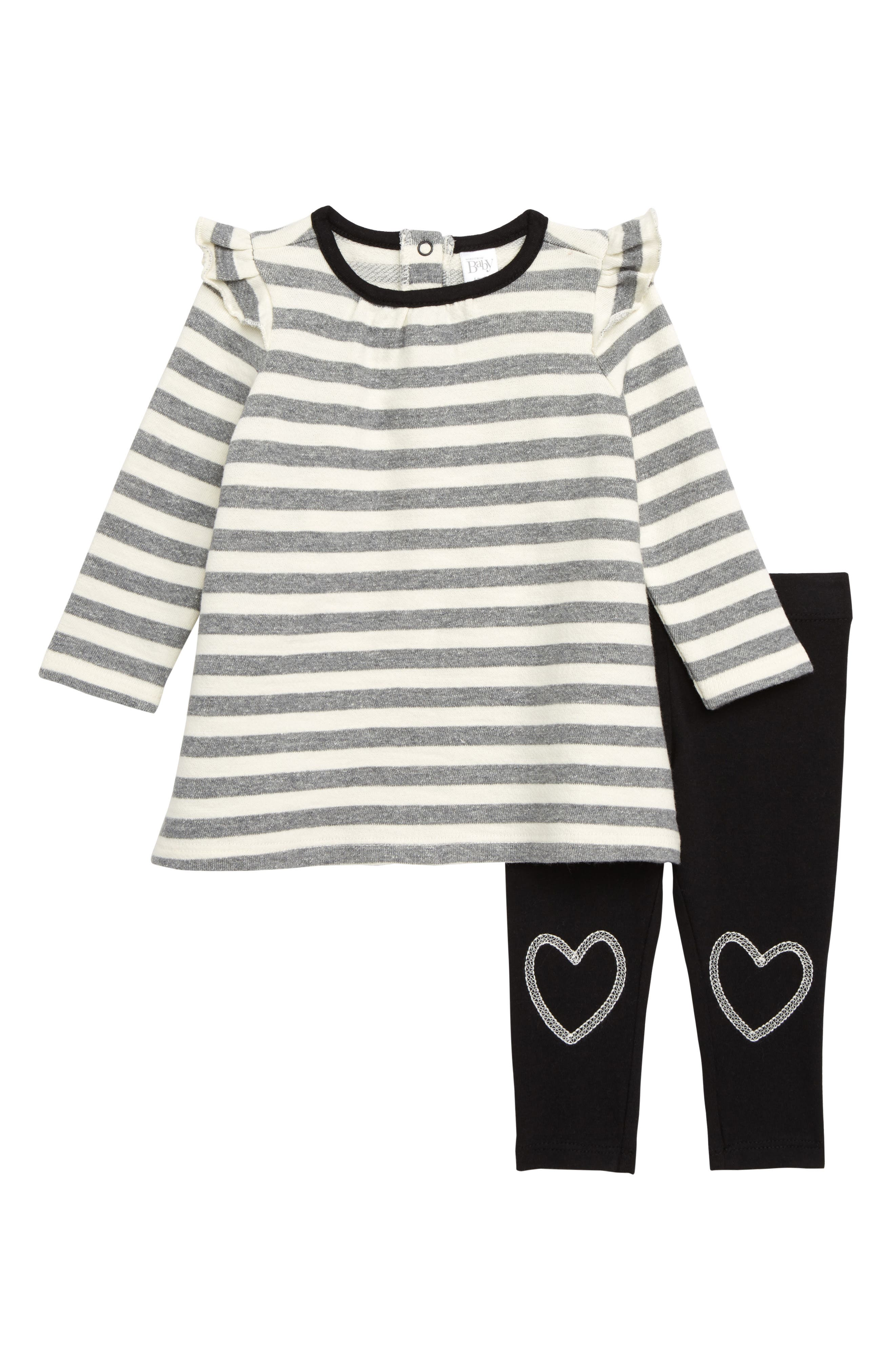 NORDSTROM BABY, Stripe Dress & Leggings Set, Main thumbnail 1, color, IVORY EGRET- GREY STRIPE
