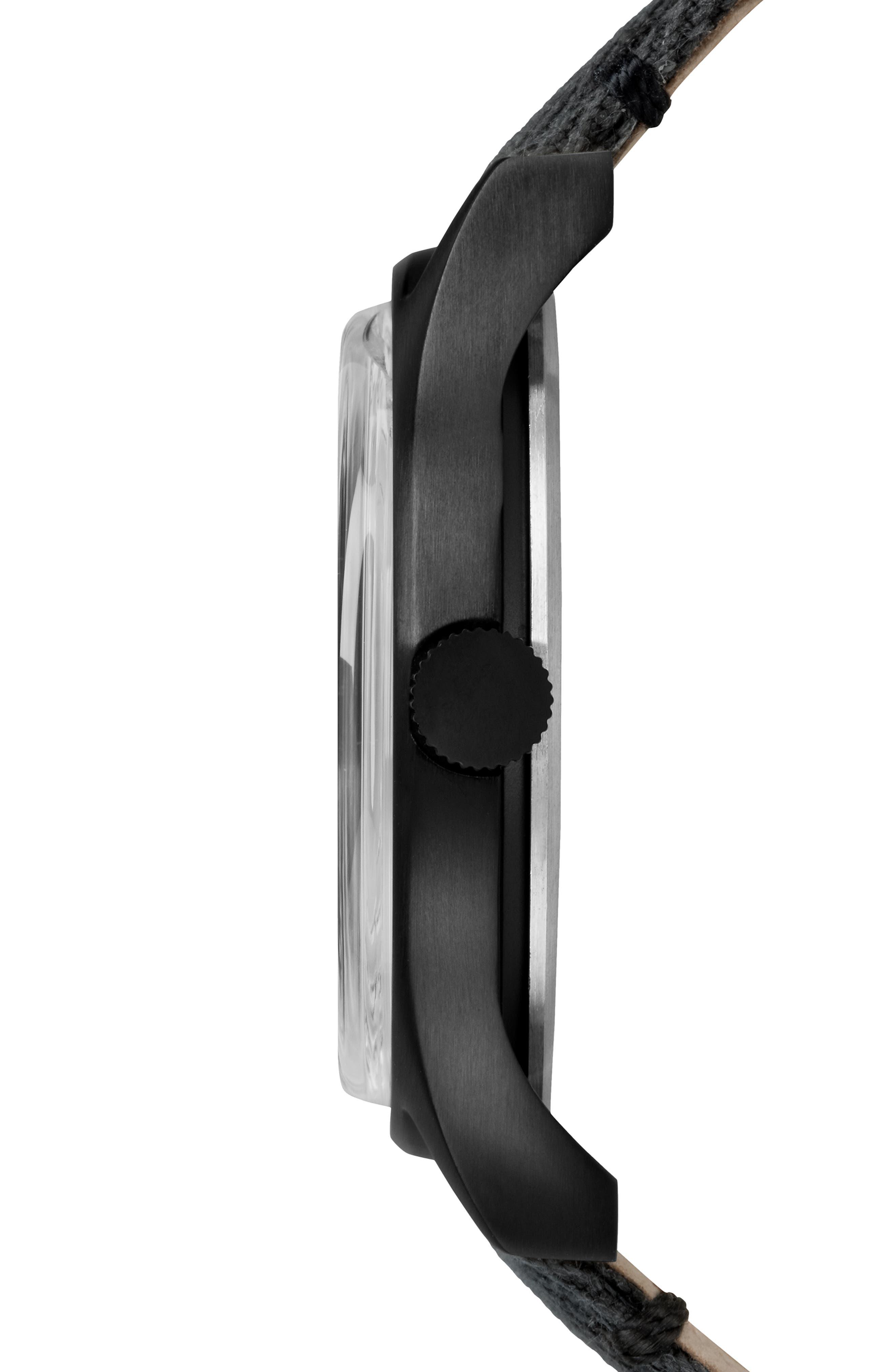 TIMEX<SUP>®</SUP>, MK1 Canvas Strap Watch, Alternate thumbnail 3, color, BLACK