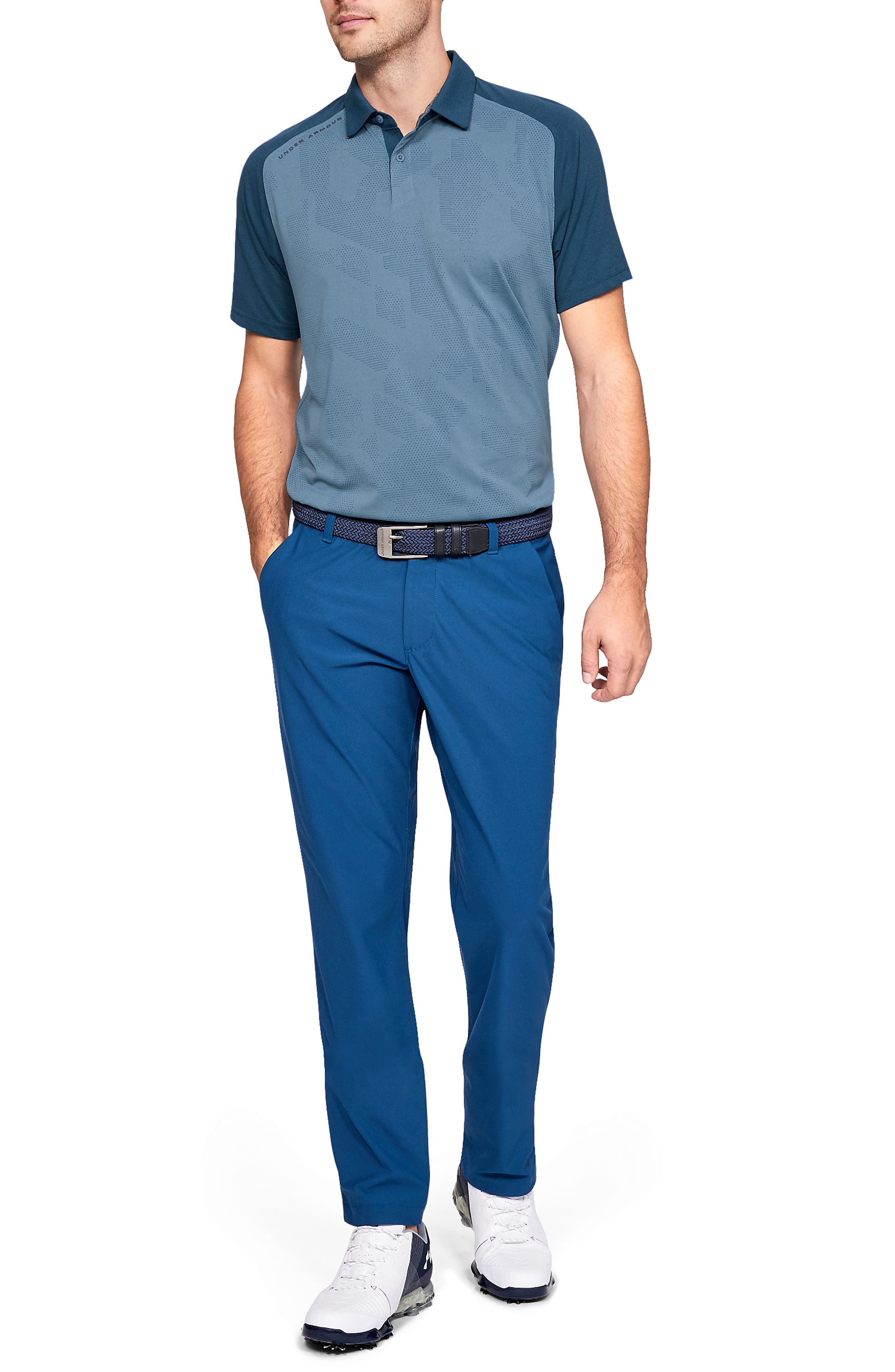 UNDER ARMOUR, Tour Tips Champion Loose Polo, Alternate thumbnail 6, color, THUNDER / / PITCH GRAY
