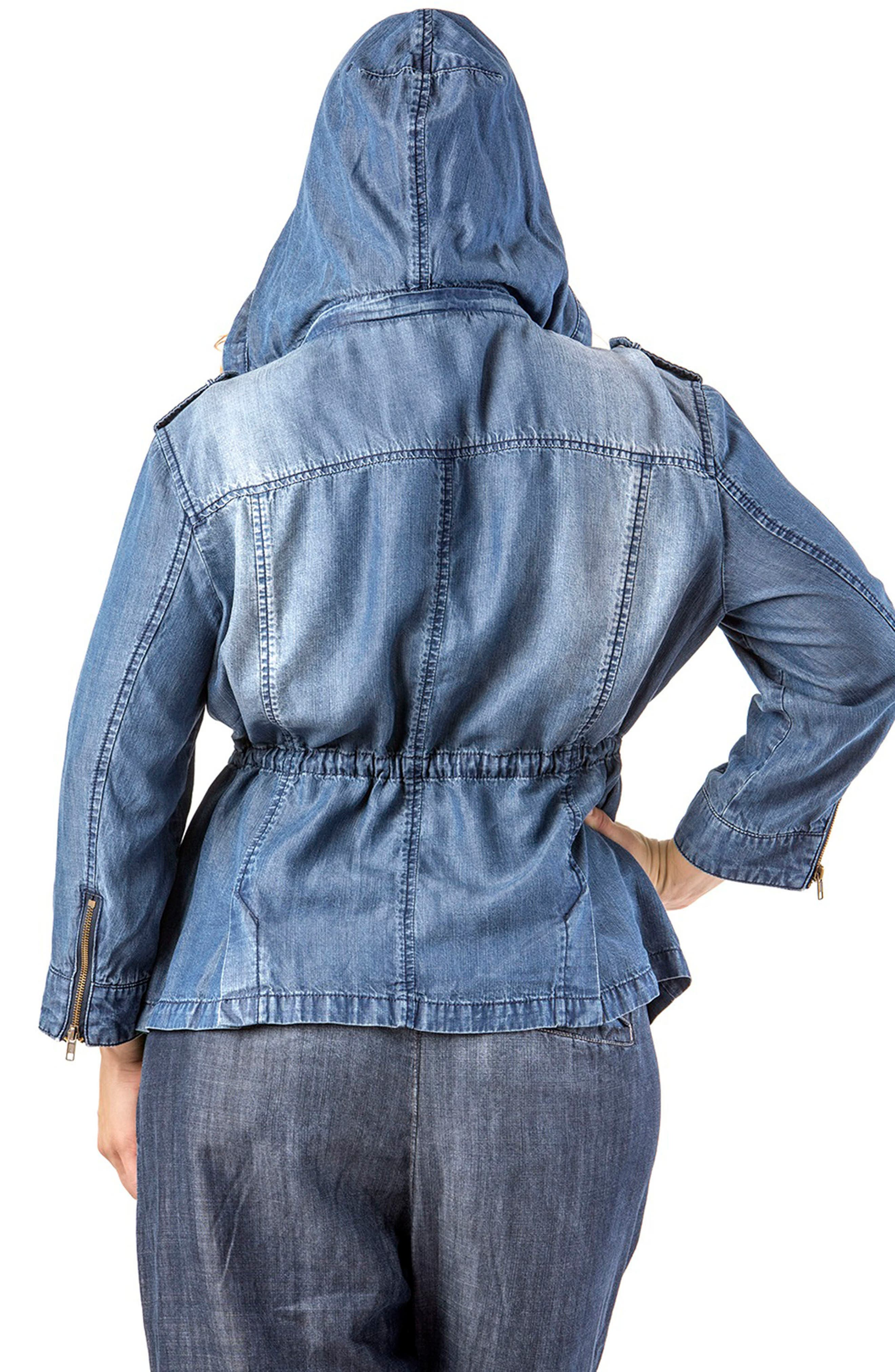 STANDARDS & PRACTICES, Abby Zip Front Hooded Denim Jacket, Alternate thumbnail 2, color, BLUE