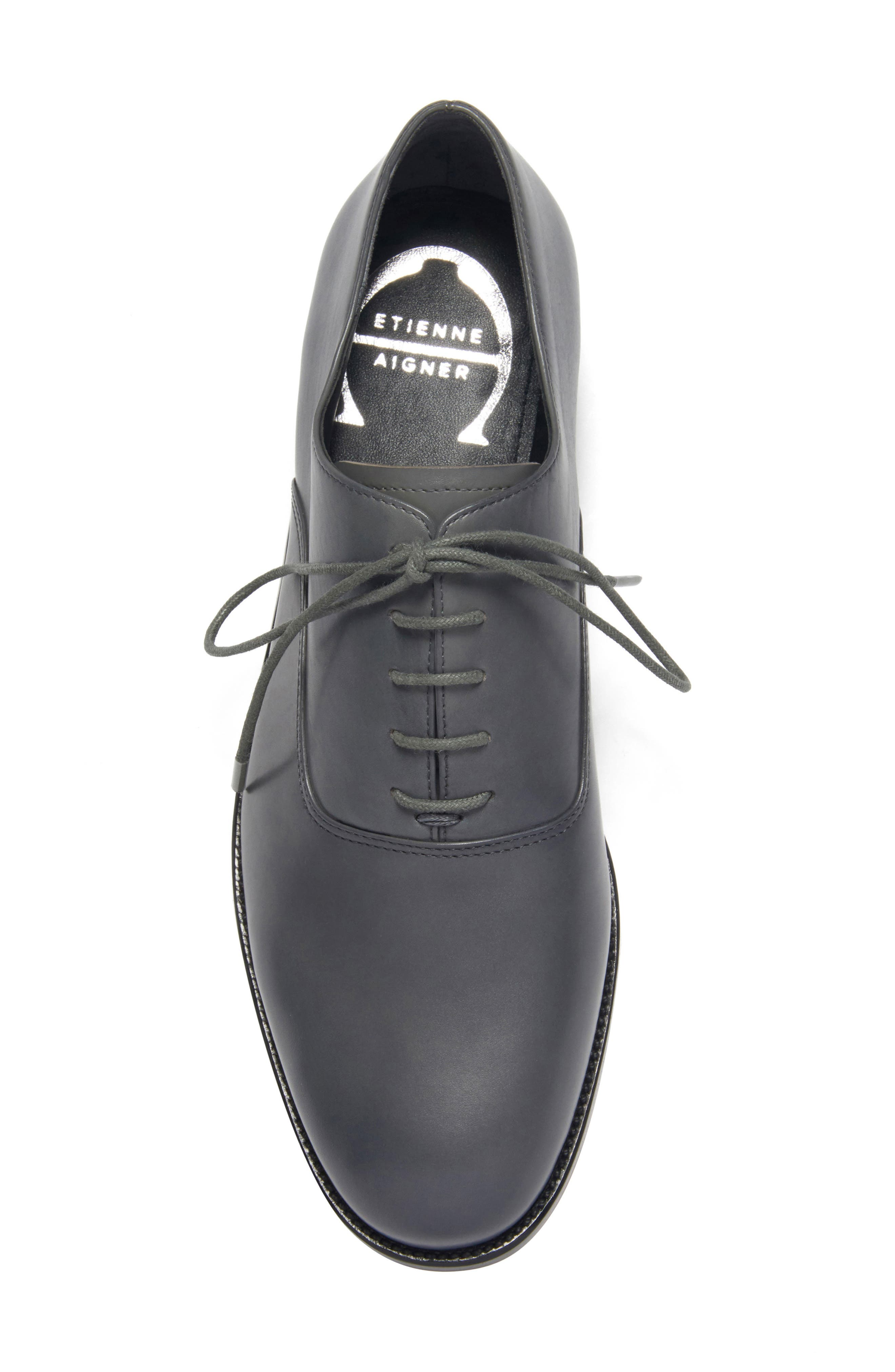 ETIENNE AIGNER, Emery Lace-Up Oxford, Alternate thumbnail 3, color, GRANITE LEATHER
