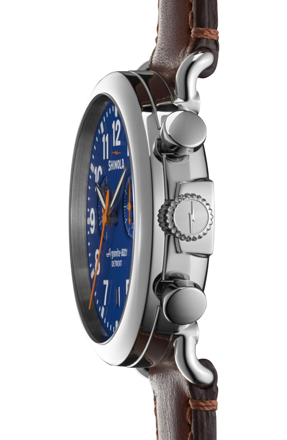 SHINOLA, 'The Runwell Chrono' Leather Strap Watch, 41mm, Alternate thumbnail 3, color, DARK BROWN/ BLUE