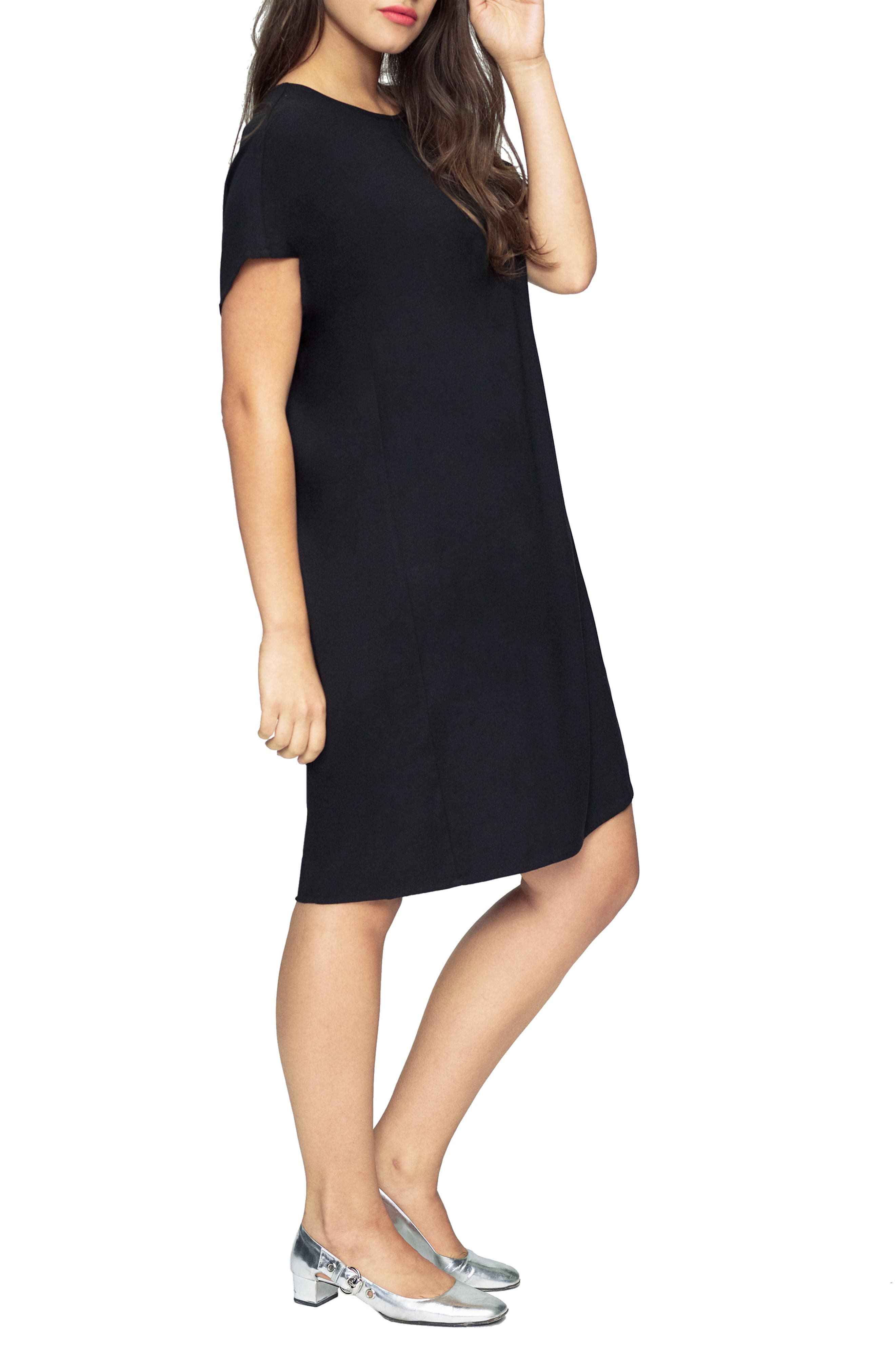 UNIVERSAL STANDARD, Luxe Twill Sheath Dress, Alternate thumbnail 3, color, 001