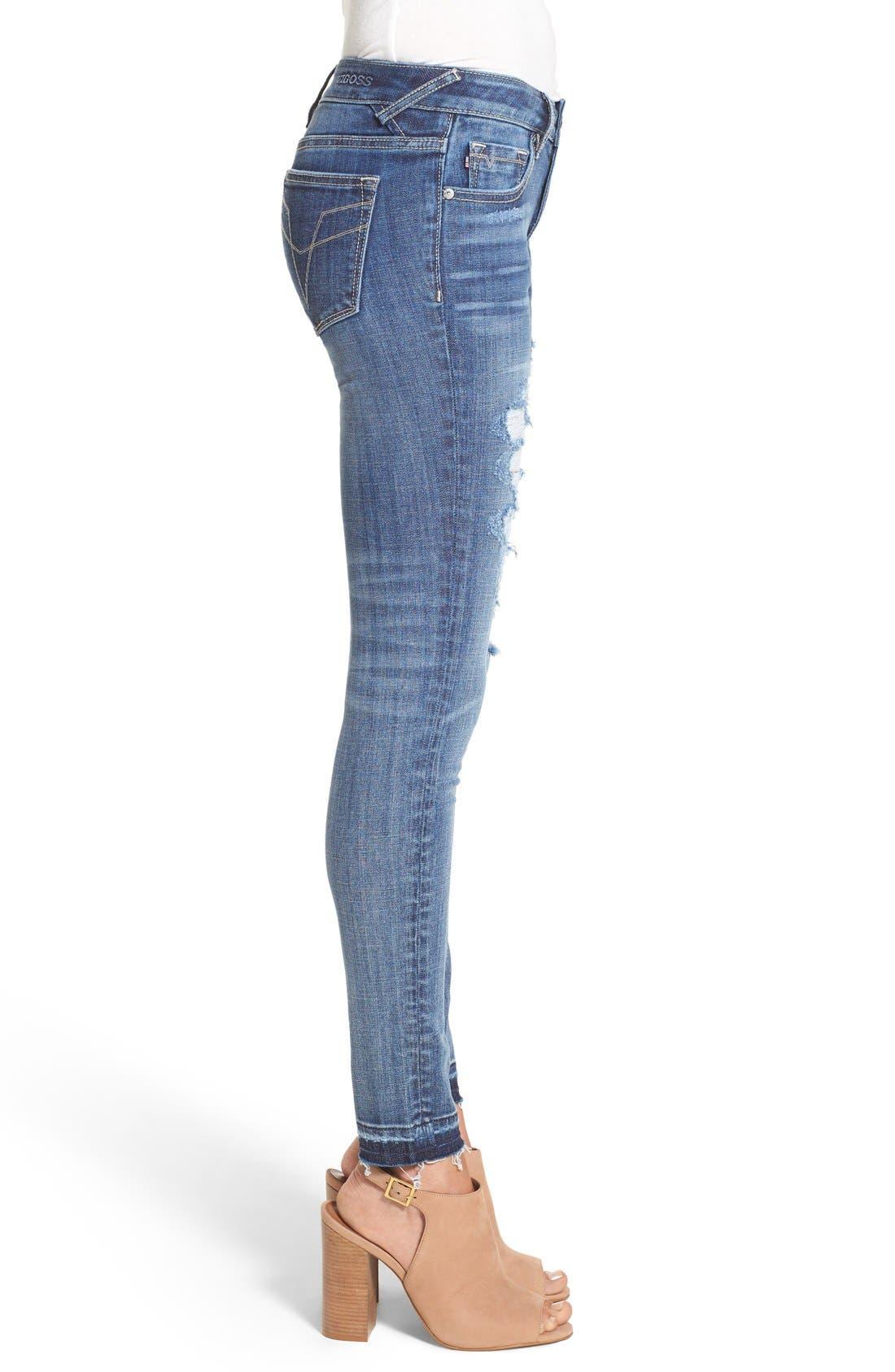 VIGOSS, 'Chelsea' Destroyed Skinny Jeans, Alternate thumbnail 7, color, 400