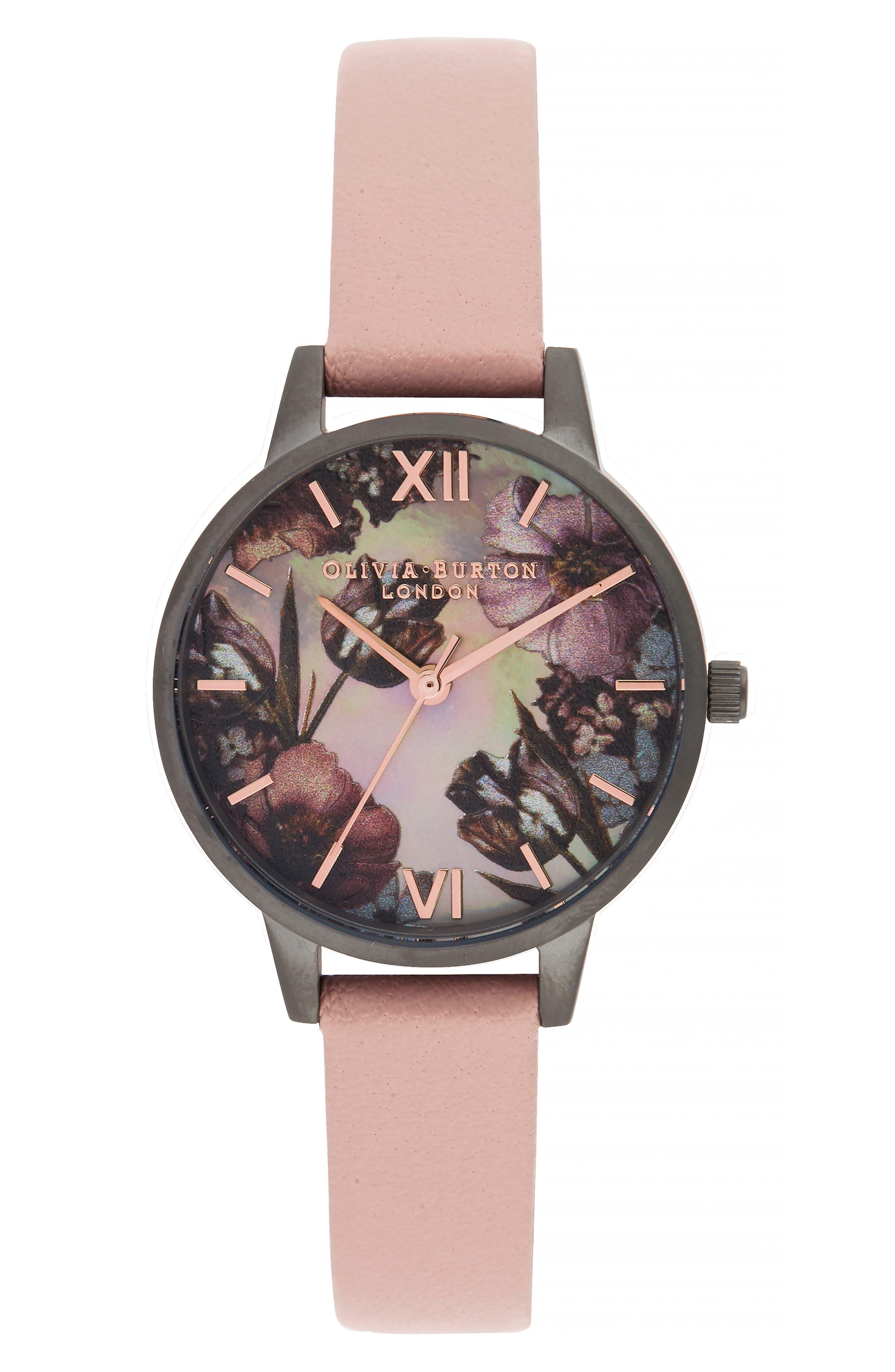 OLIVIA BURTON, Twilight Leather Strap Watch, 30mm, Main thumbnail 1, color, 650