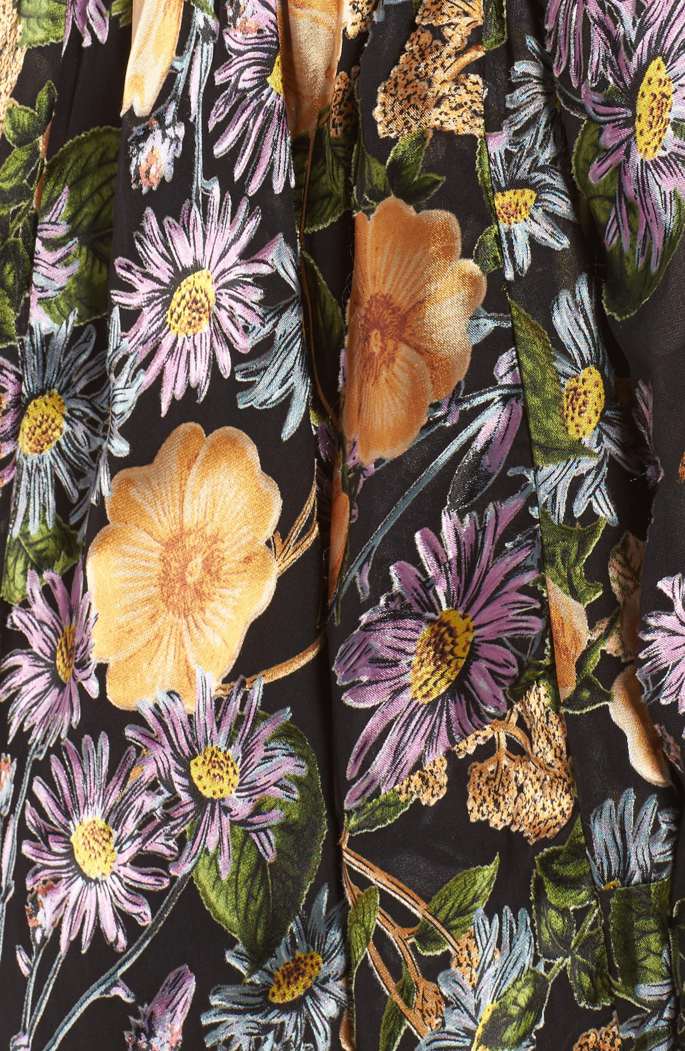 FOR LOVE & LEMONS, Luciana Strapless Fit & Flare Dress, Alternate thumbnail 5, color, 010