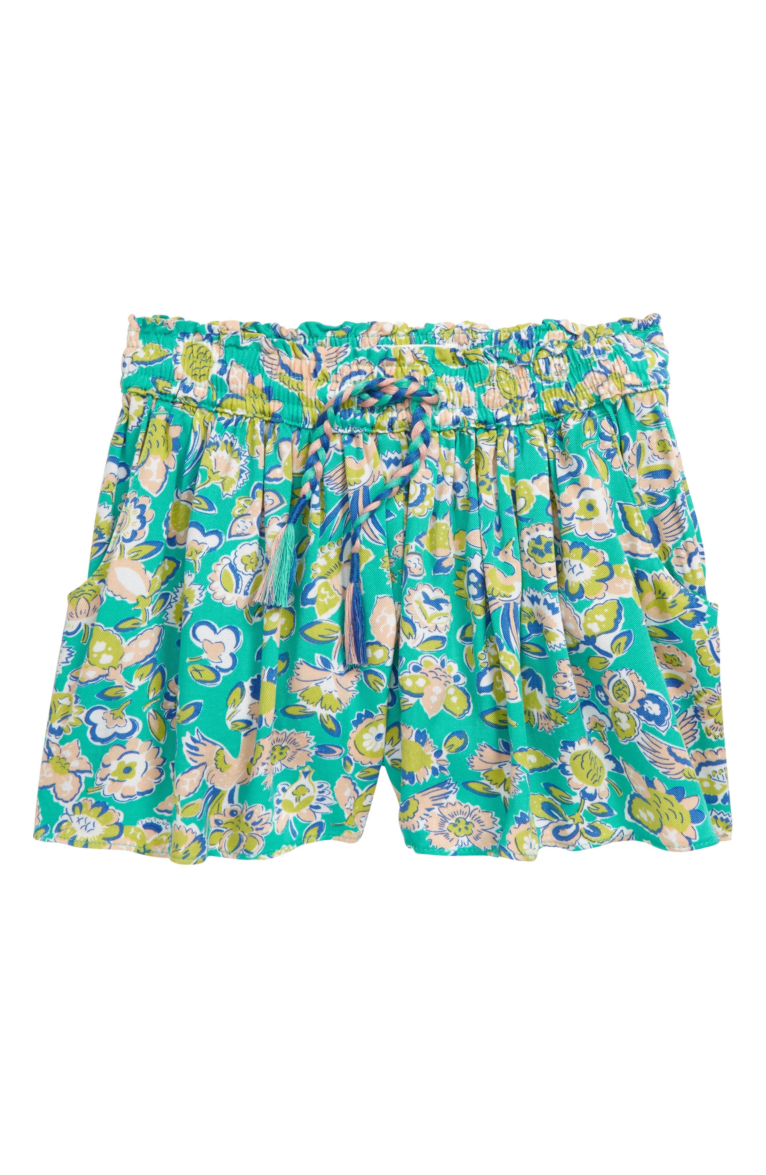 Toddler Girls Mini Boden Pretty Print Shorts Size 23Y  Blue