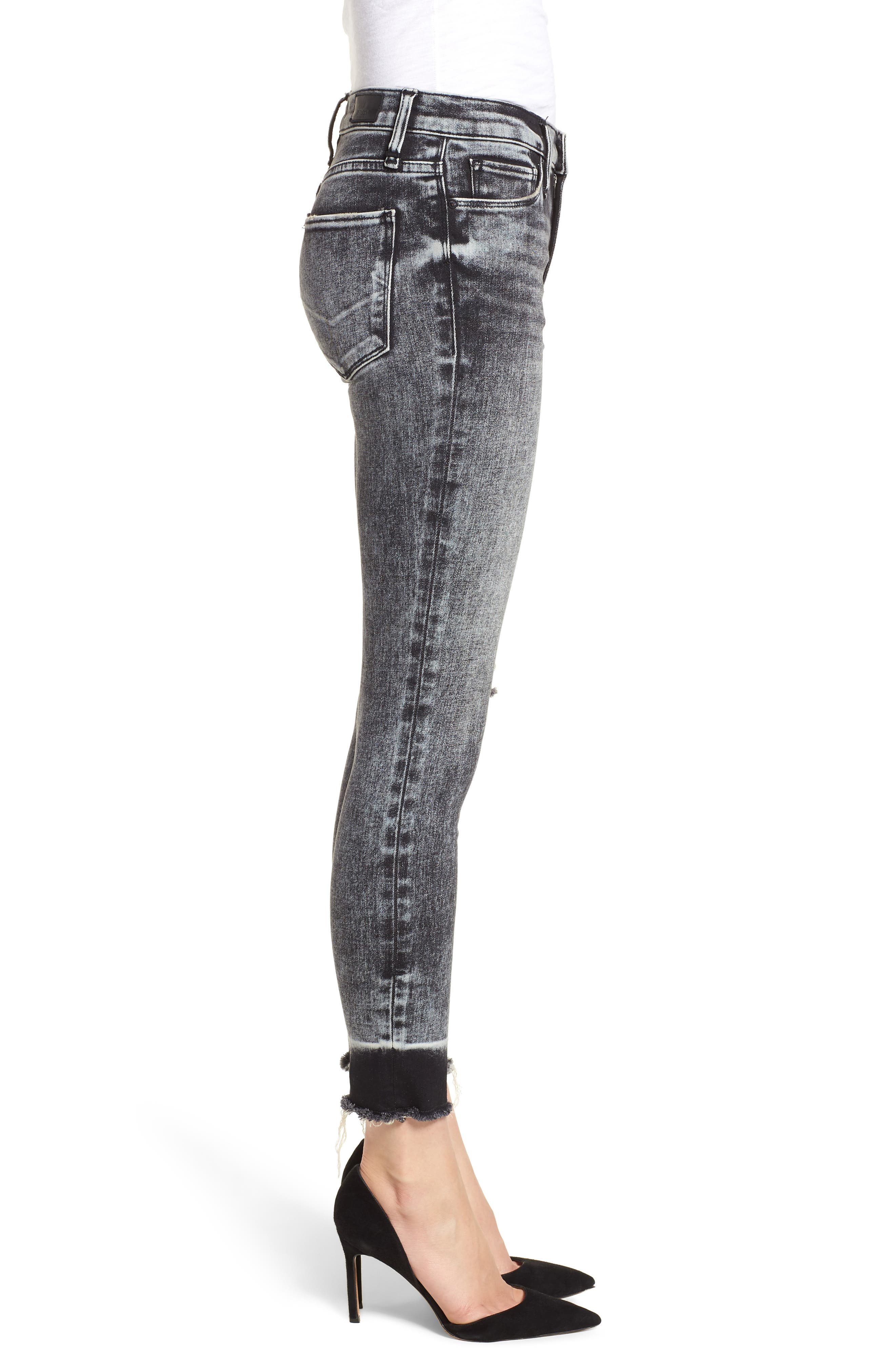 HUDSON JEANS, Nico Raw Hem Crop Super Skinny Jeans, Alternate thumbnail 4, color, PEPPER