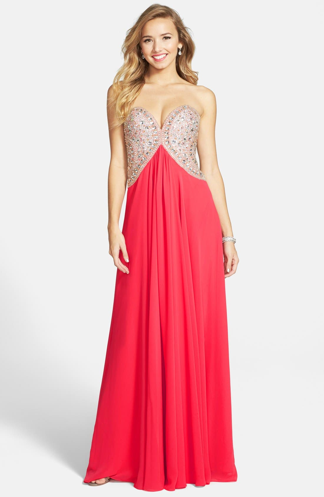 TERANI COUTURE Embellished Bodice Strapless Chiffon Gown, Main, color, 950
