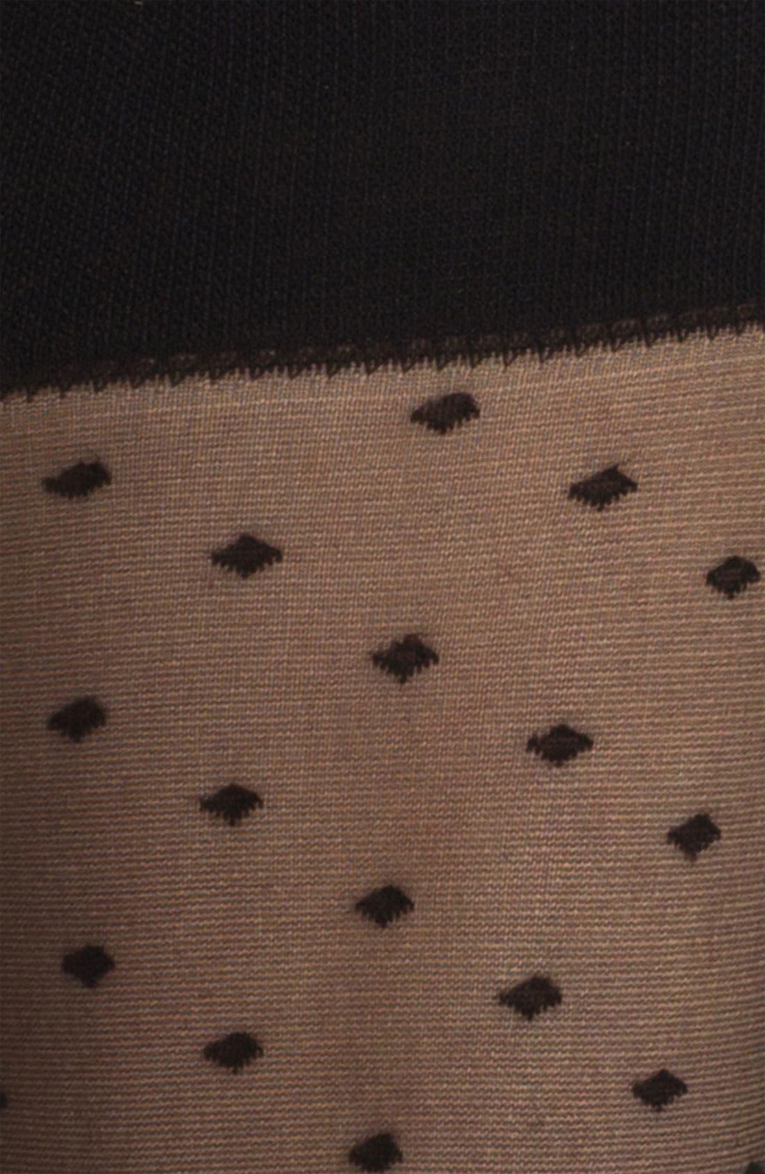 NORDSTROM, Sheer Dotted Trouser Socks, Alternate thumbnail 2, color, 001