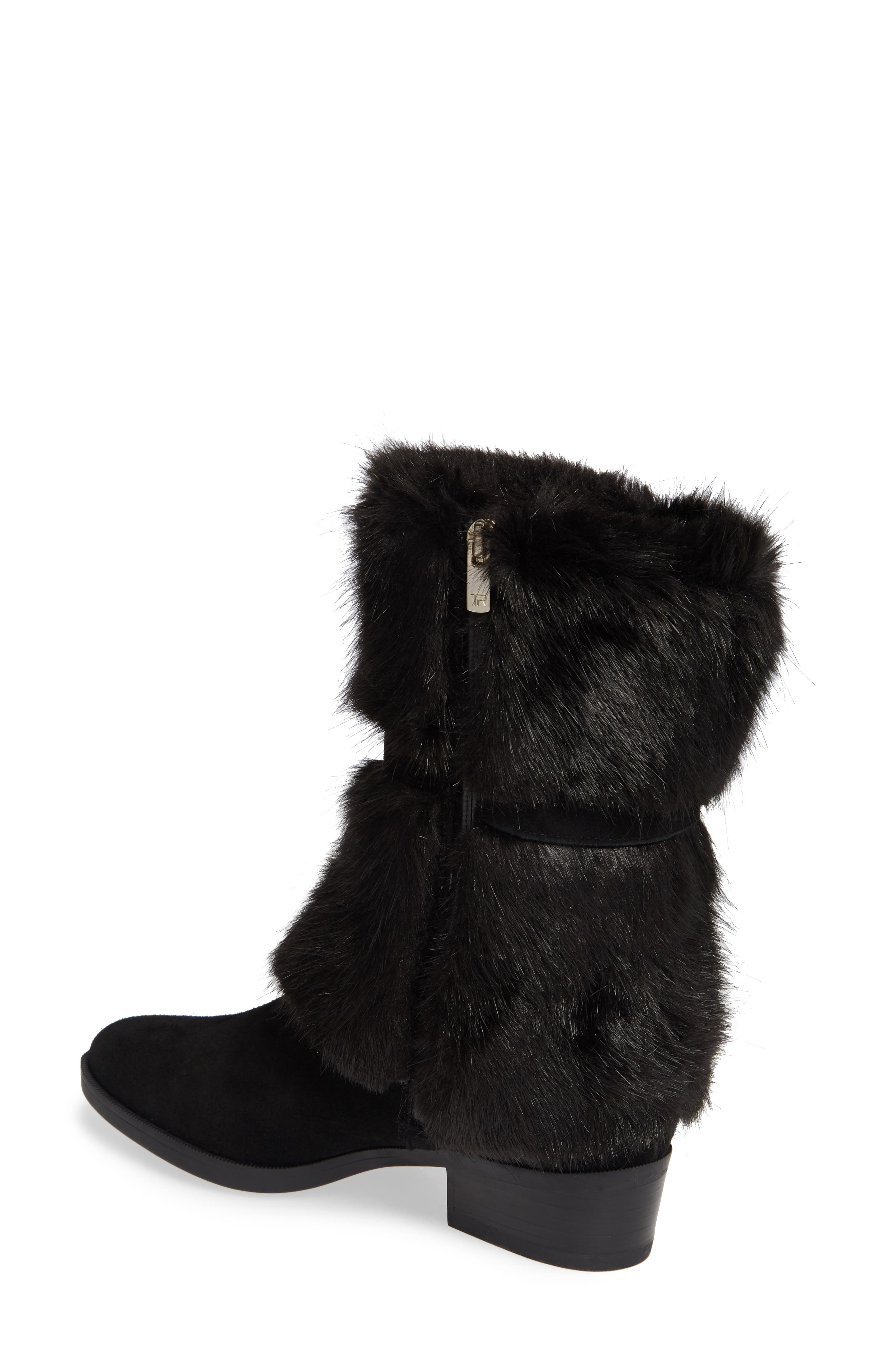 TARYN ROSE, Giselle Water Resistant Faux Fur Boot, Alternate thumbnail 2, color, BLACK SUEDE