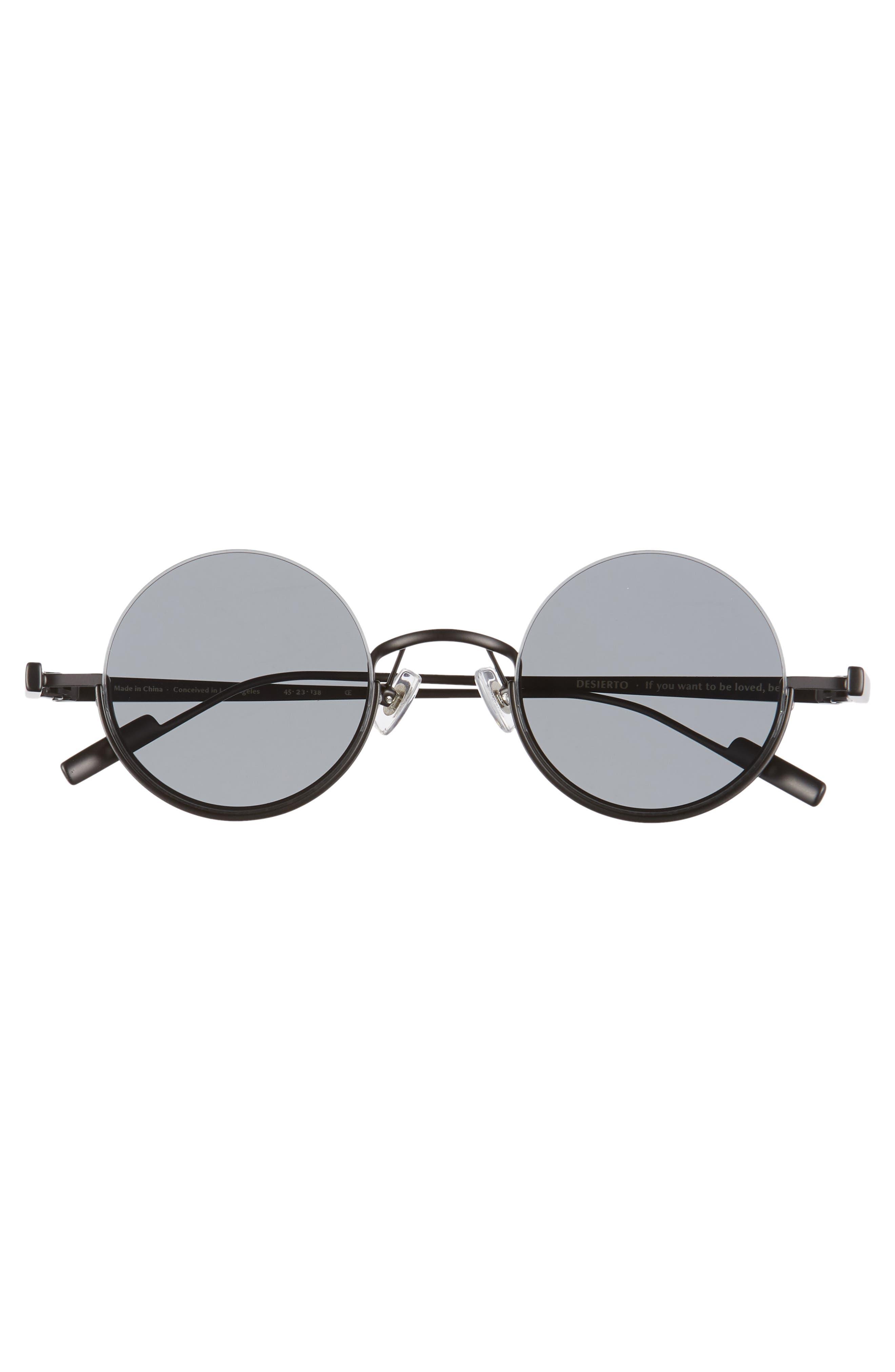 BONNIE CLYDE, Desierto 42mm Round Sunglasses, Alternate thumbnail 3, color, BLACK