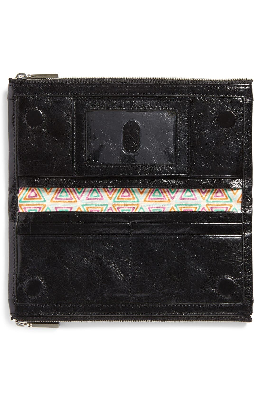 HOBO, Taylor Glazed Wallet, Alternate thumbnail 10, color, BLACK
