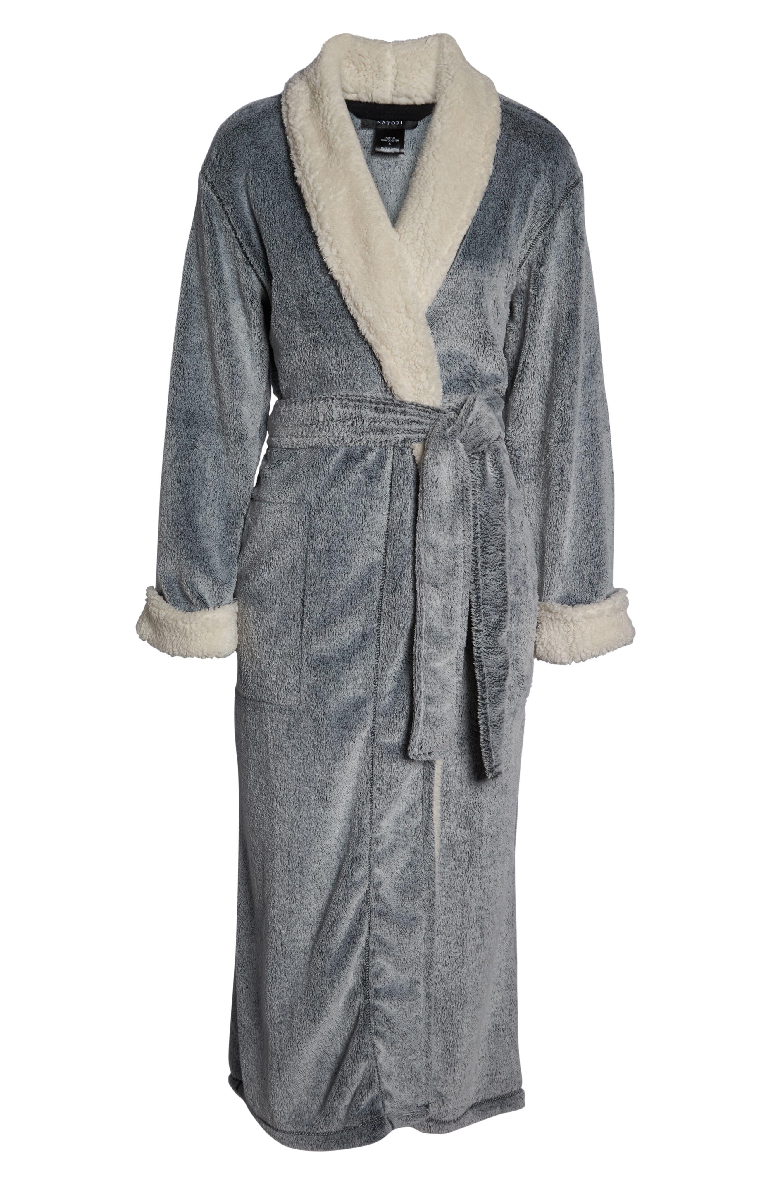 NATORI, Plush Velour Robe, Alternate thumbnail 6, color, BLACK