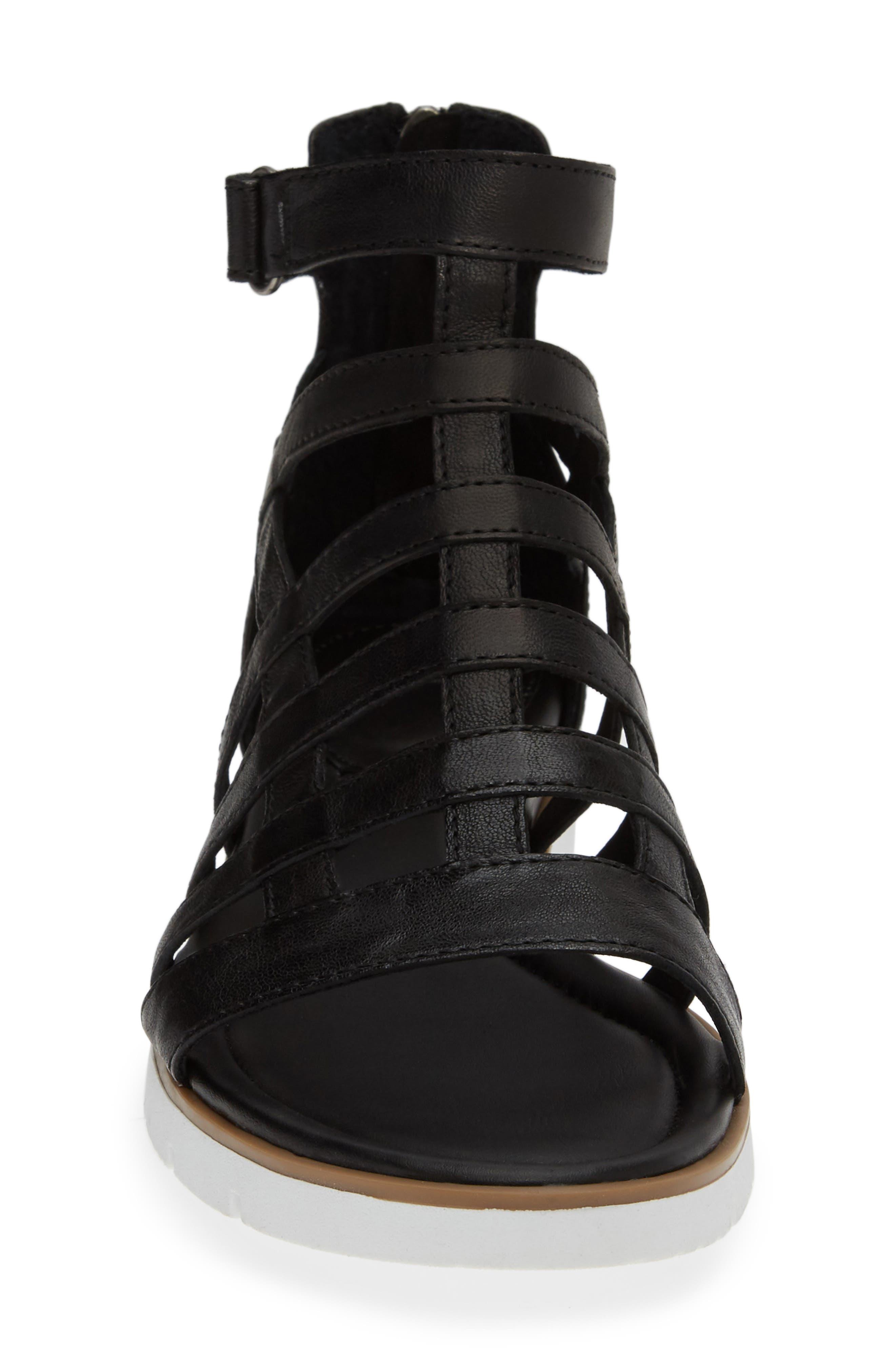 SÖFFT, Mahari Gladiator Sandal, Alternate thumbnail 4, color, BLACK LEATHER