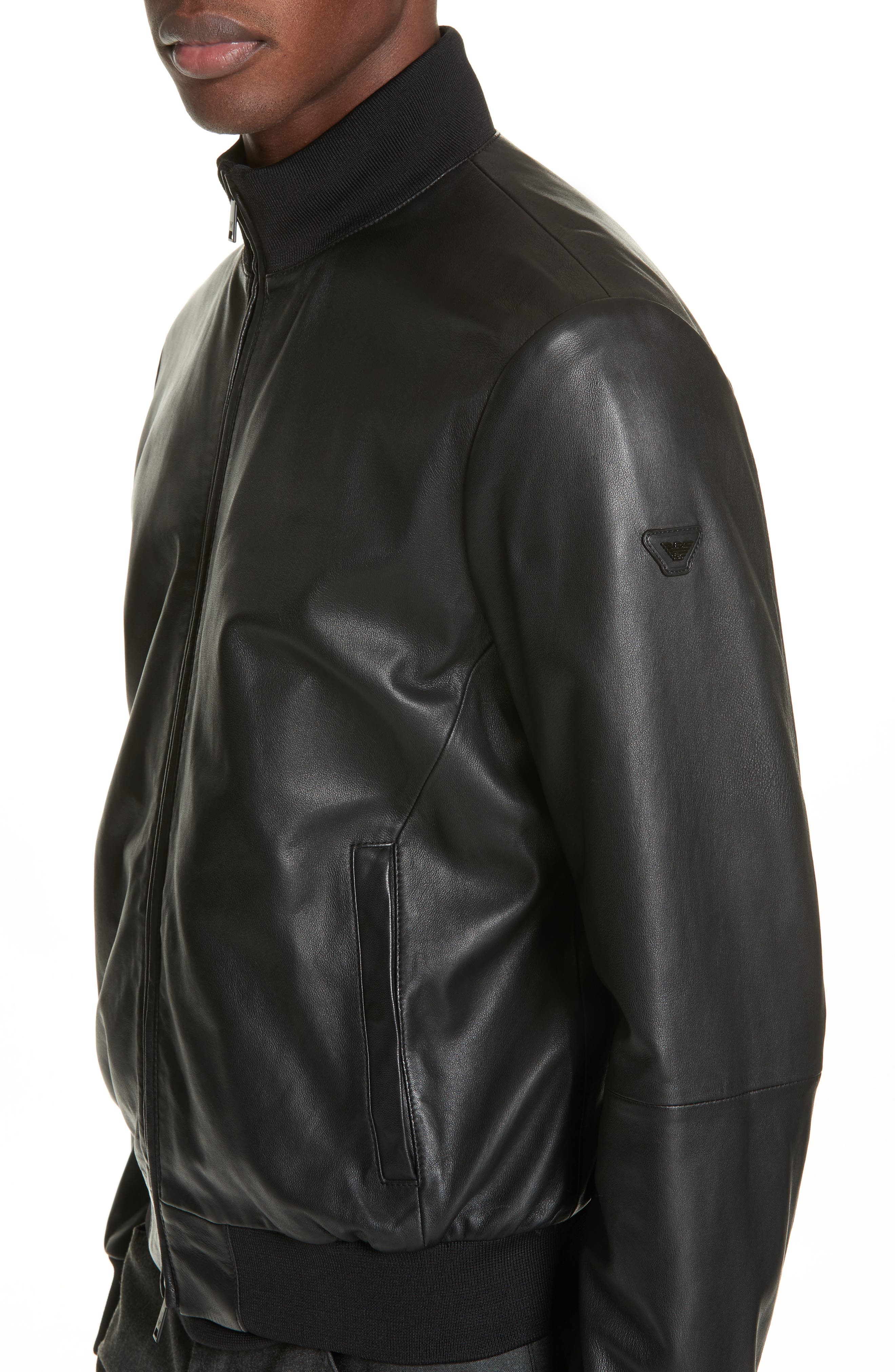 EMPORIO ARMANI, Leather Bomber Jacket, Alternate thumbnail 5, color, BLACK