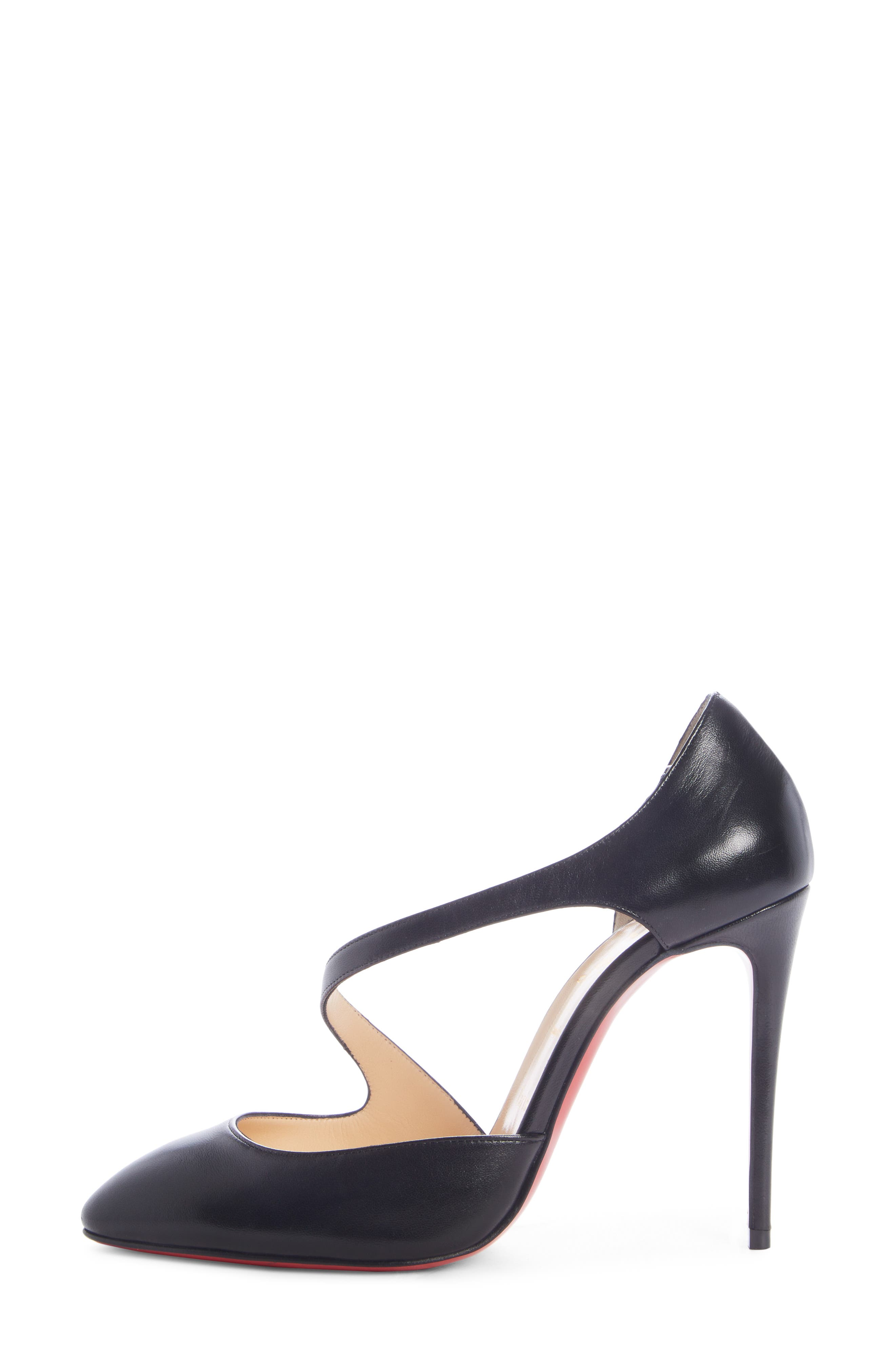 CHRISTIAN LOUBOUTIN, Catchy One Strappy d'Orsay Pump, Alternate thumbnail 3, color, BLACK