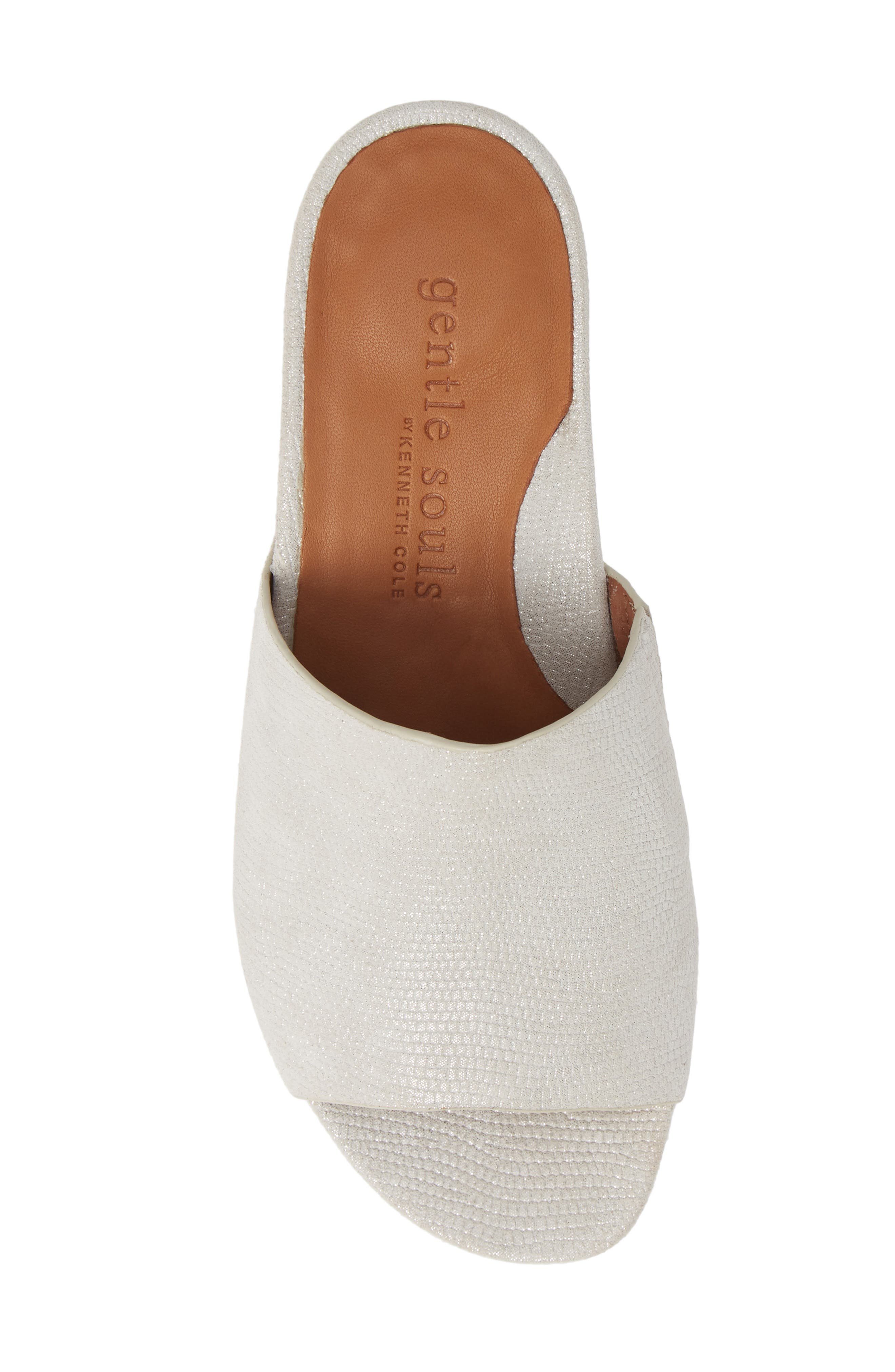 GENTLE SOULS BY KENNETH COLE, Gisele Wedge Slide Sandal, Alternate thumbnail 5, color, WHITE EMBOSSED LEATHER