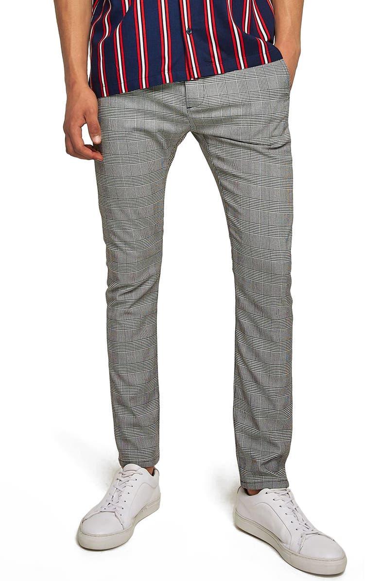 d0b3b699da TOPMAN Check Stretch Skinny Fit Trousers, Main, color, 001