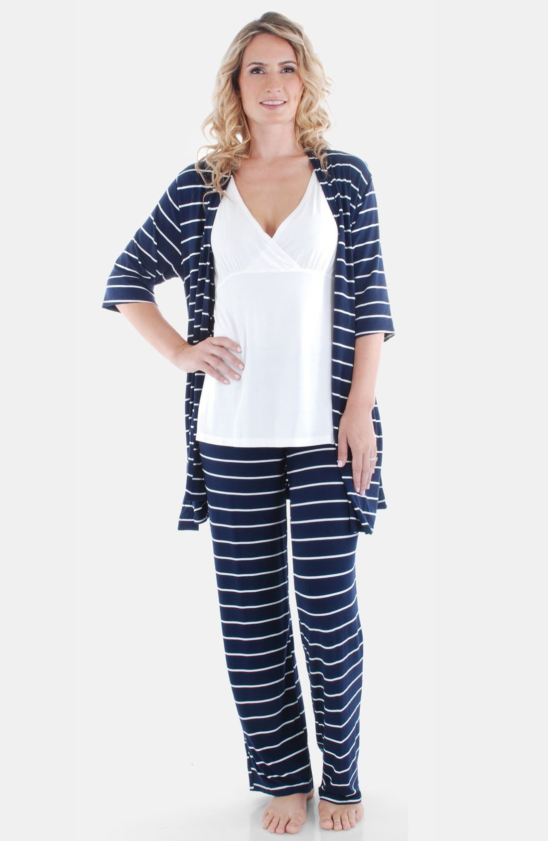 EVERLY GREY, Roxanne - During & After 5-Piece Maternity Sleepwear Set, Alternate thumbnail 6, color, NAVY