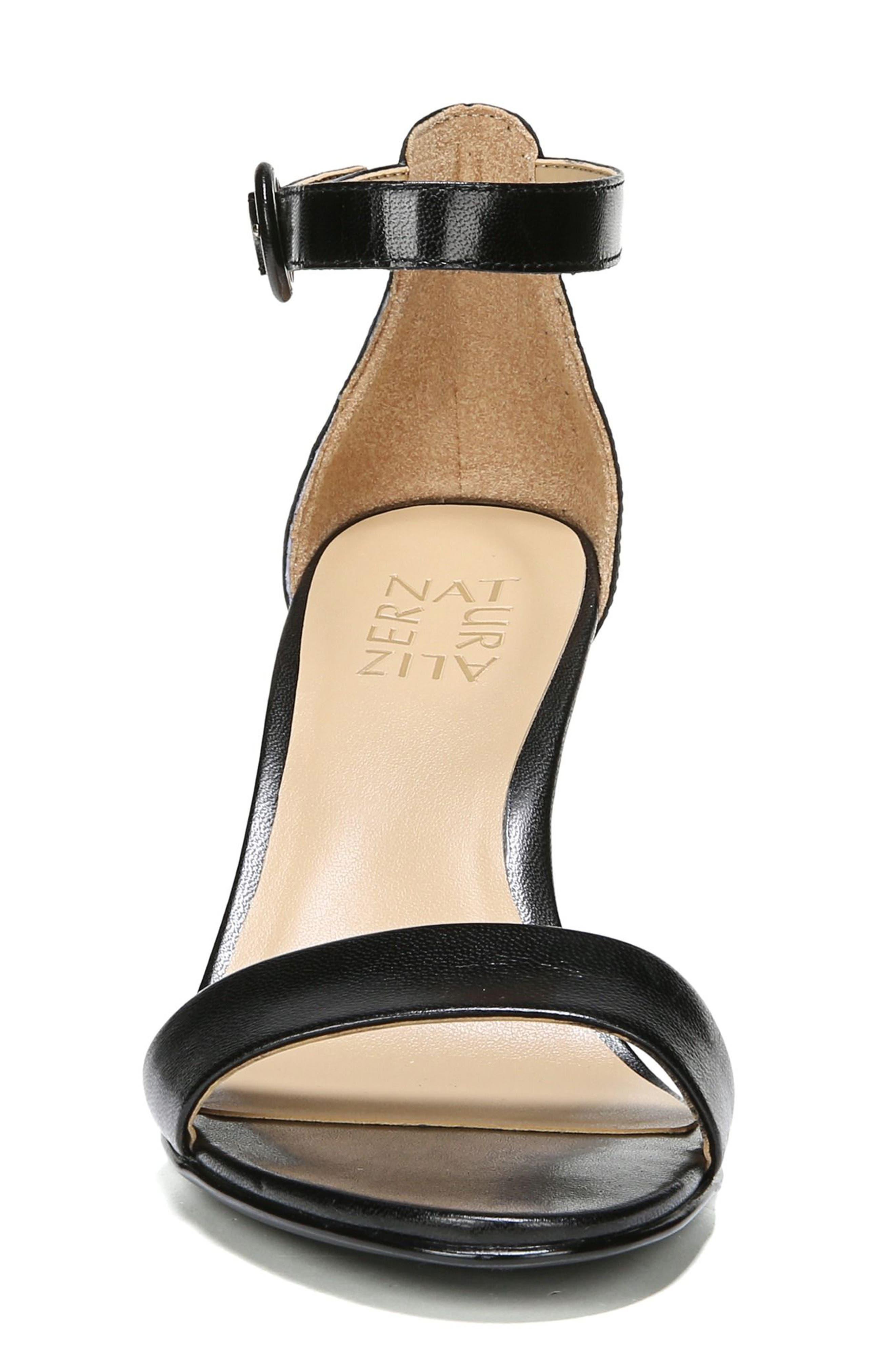 NATURALIZER, Kinsley Ankle Strap Sandal, Alternate thumbnail 4, color, BLACK LEATHER