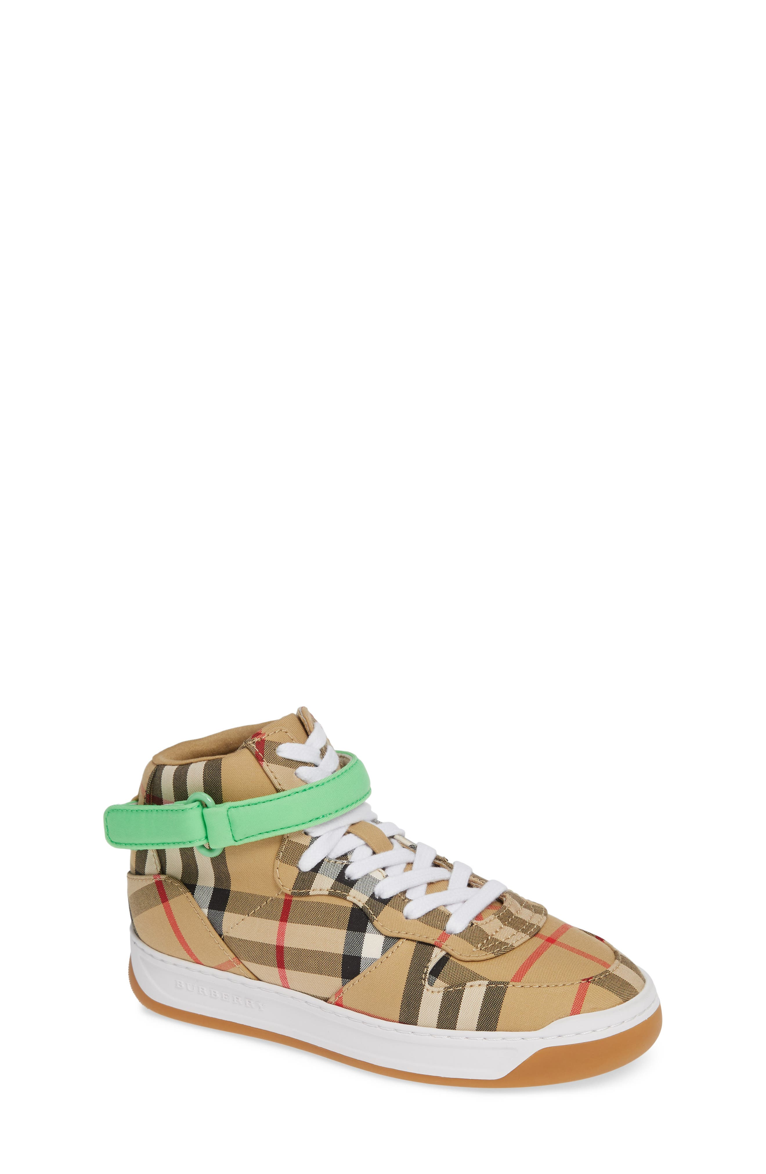 BURBERRY, Groves High Top Sneaker, Main thumbnail 1, color, NEON GREEN