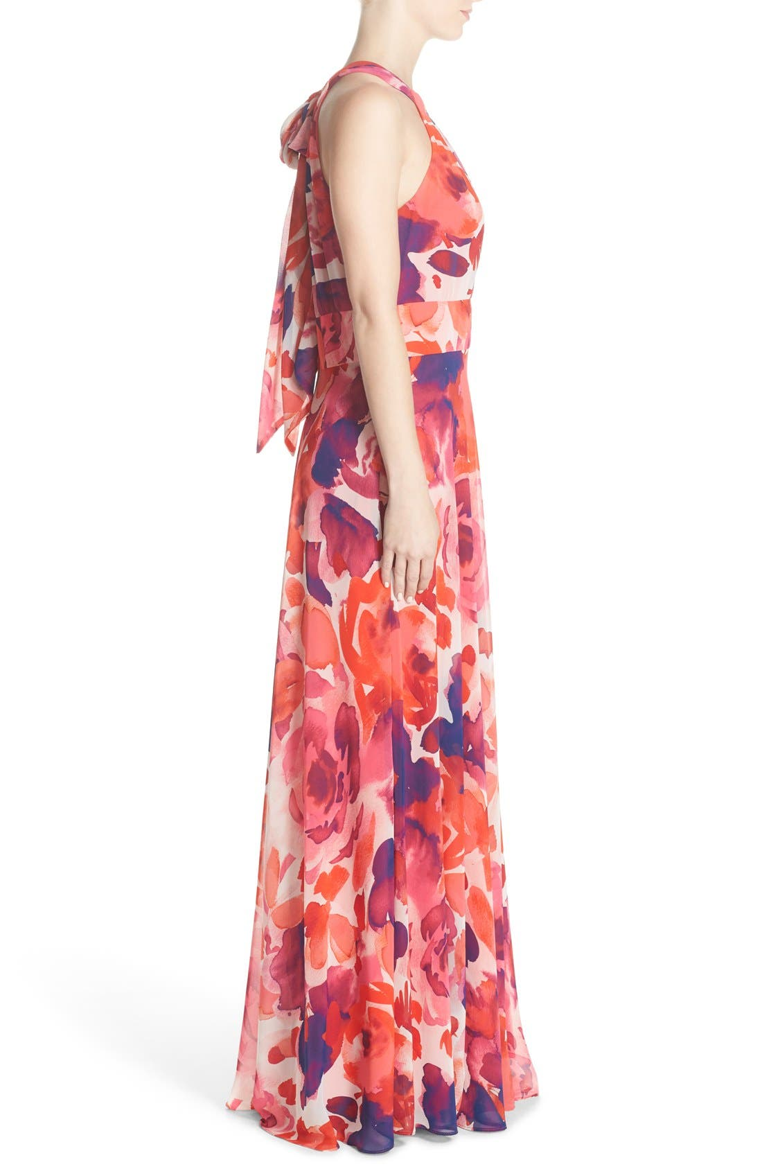 ELIZA J, Floral Print Halter Maxi Dress, Alternate thumbnail 4, color, PINK/ CORAL/ PURPLE