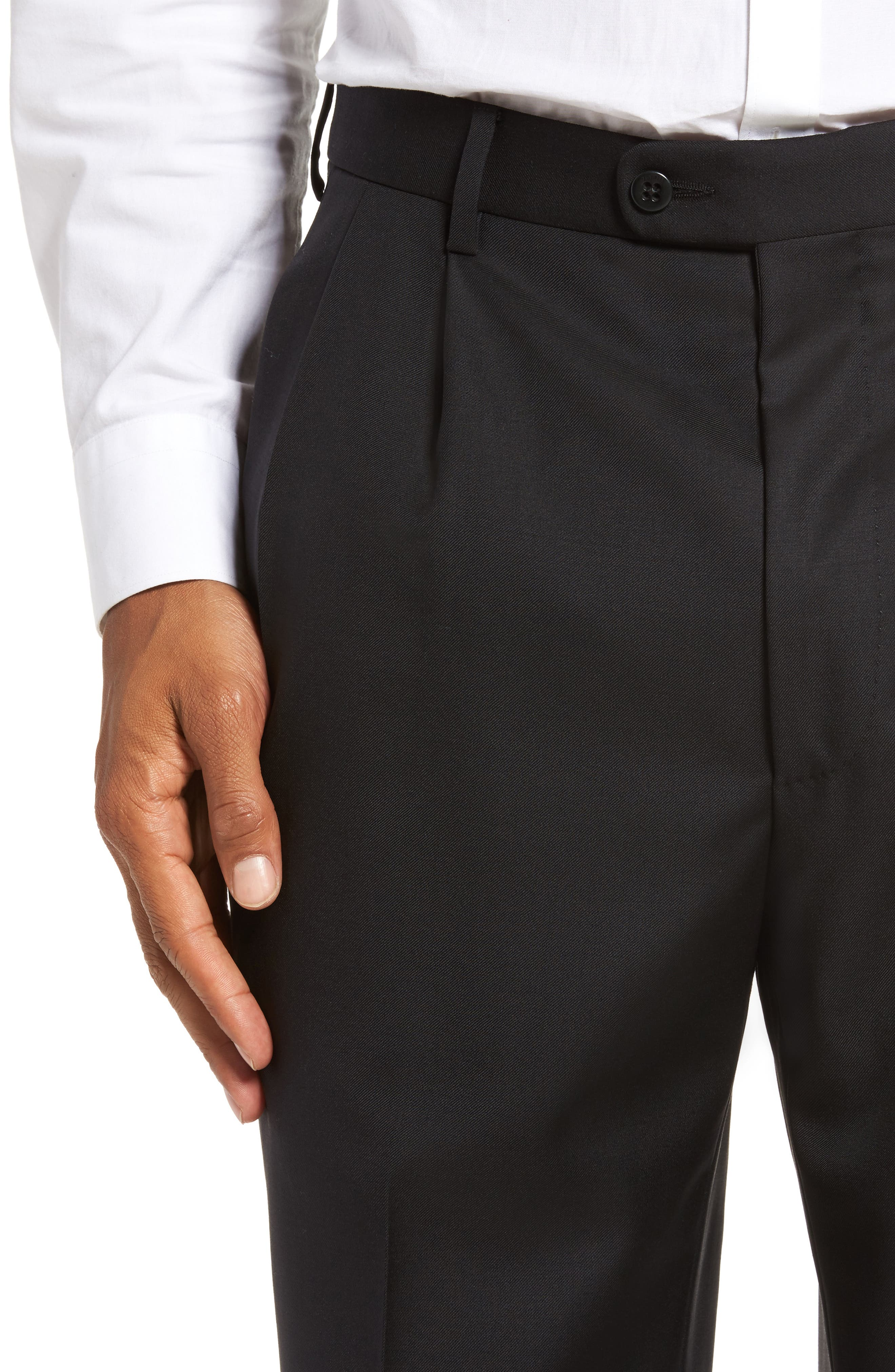 ZANELLA, Bennett Regular Fit Pleated Trousers, Alternate thumbnail 5, color, BLACK