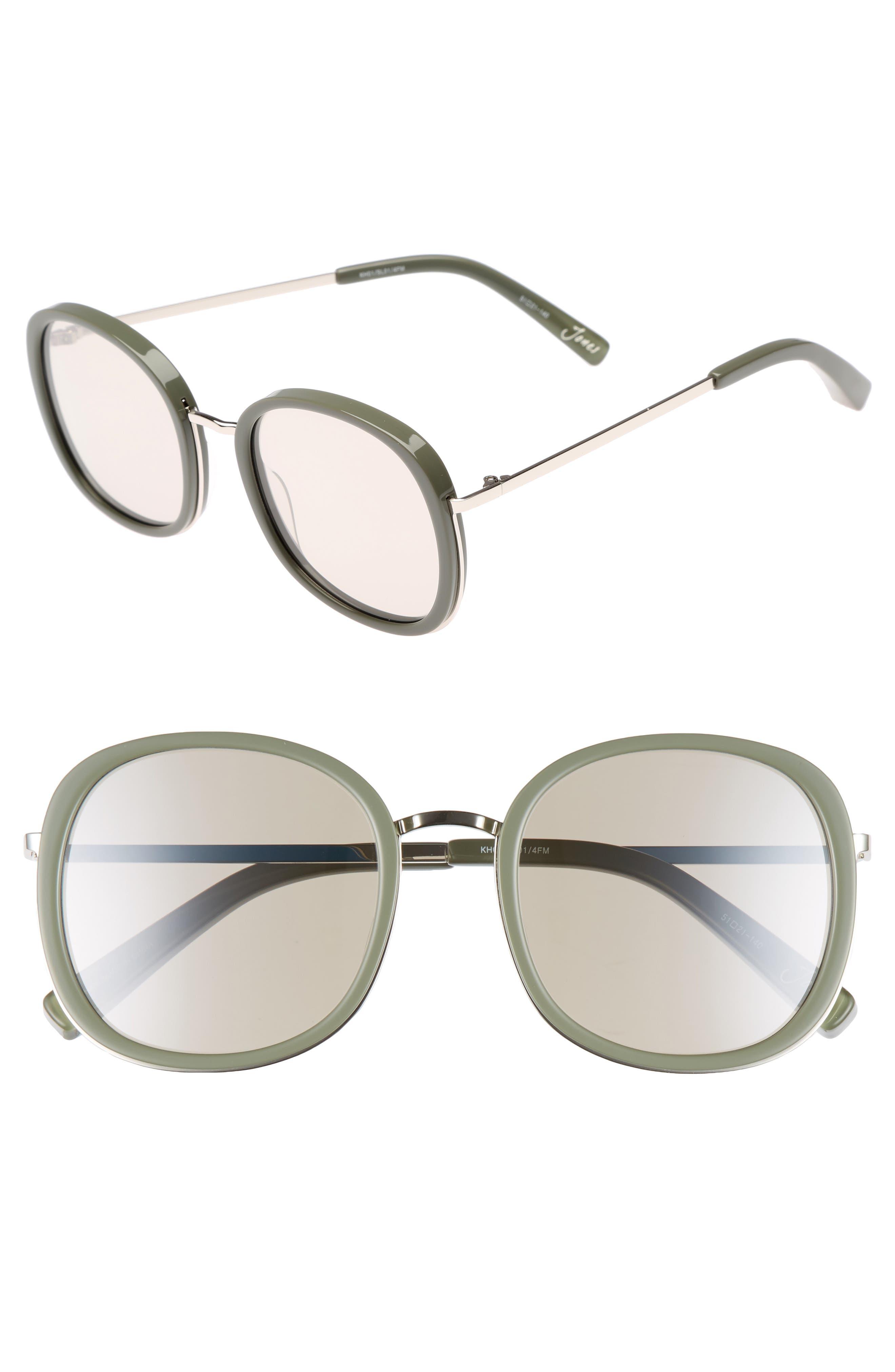 ELIZABETH AND JAMES Jones 51mm Round Sunglasses, Main, color, KHAKI AND SILVER