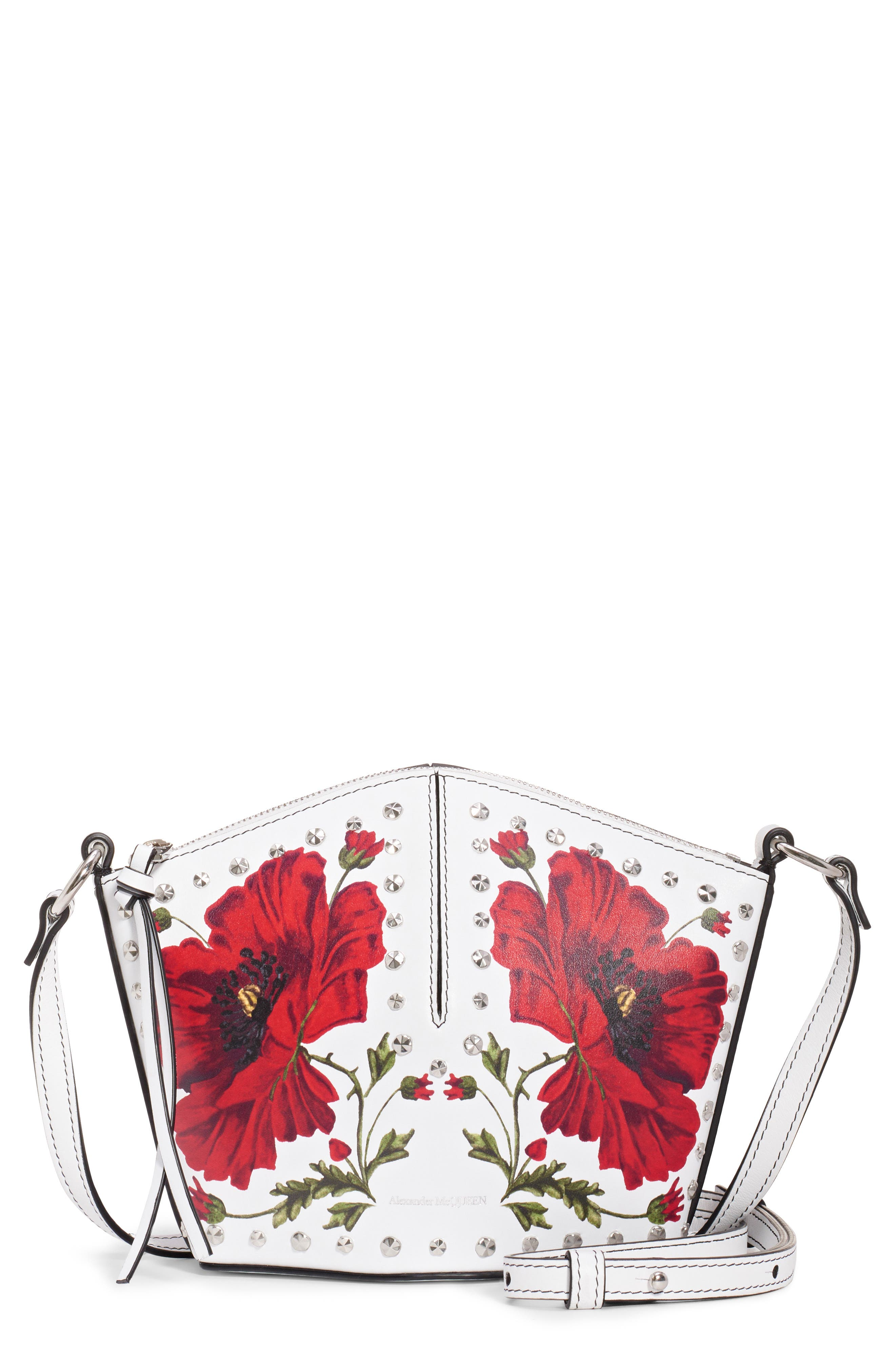 ALEXANDER MCQUEEN, Mini Studded Leather Bucket Bag, Main thumbnail 1, color, OFF WHITE MULTI